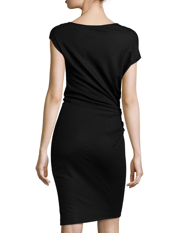 Womens Draped-Neck Stretch-Twill Dress Helmut Lang JbNj4vzET