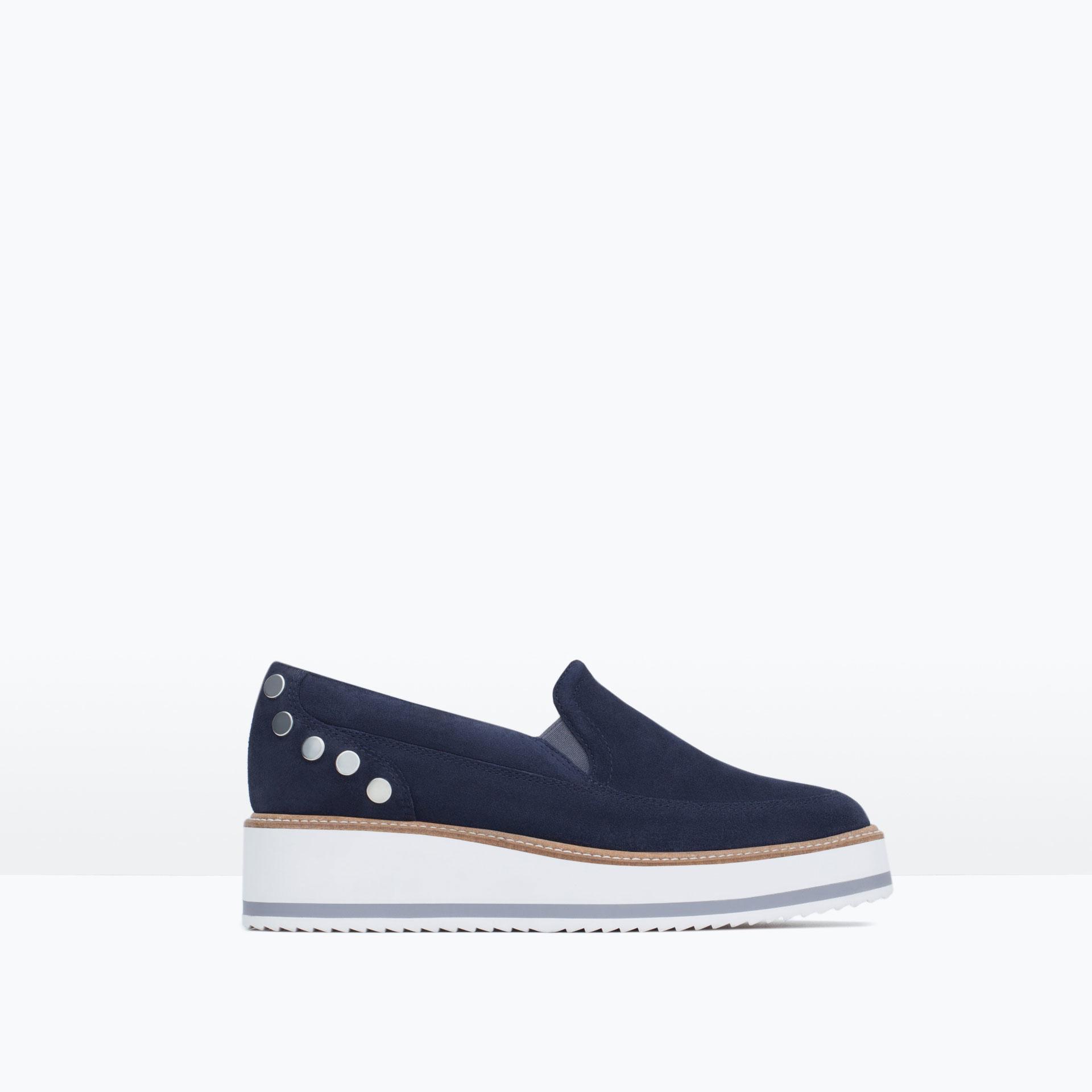 zara suede platform shoes in blue navy blue lyst