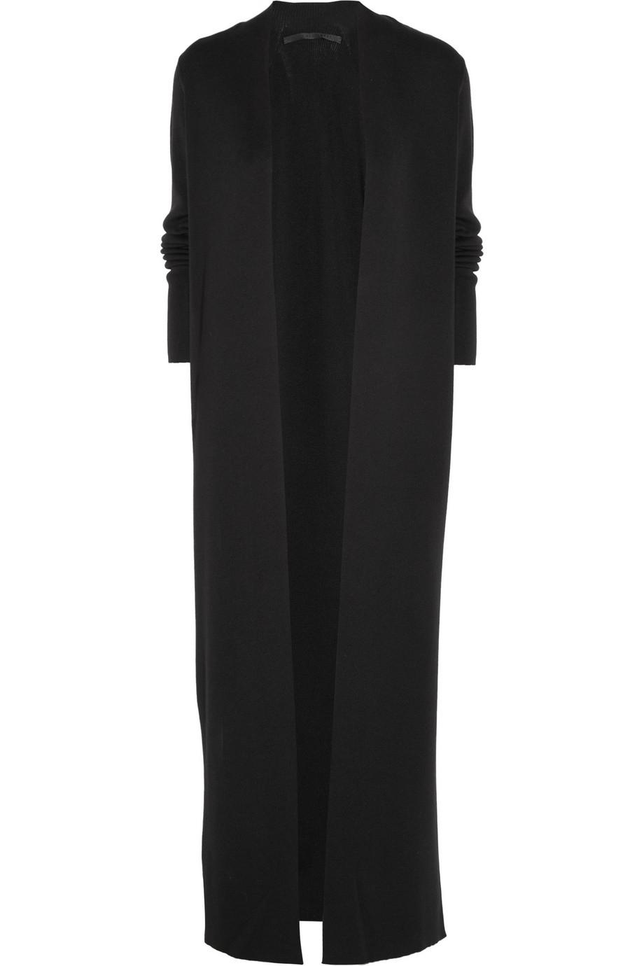 Haider ackermann Wool and Silkblend Maxi Cardigan in Black | Lyst