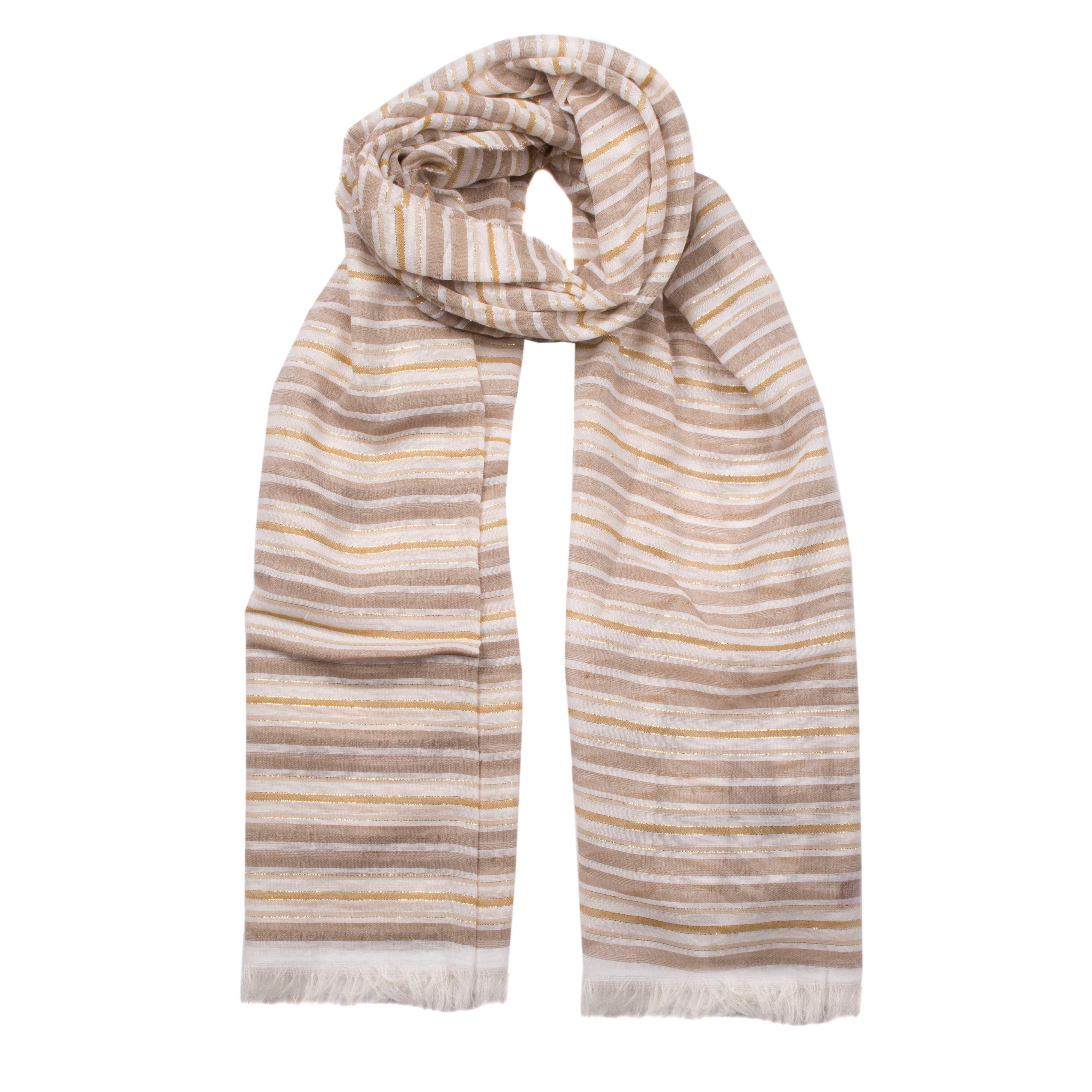 dents metallic stripe woven scarf in brown lyst