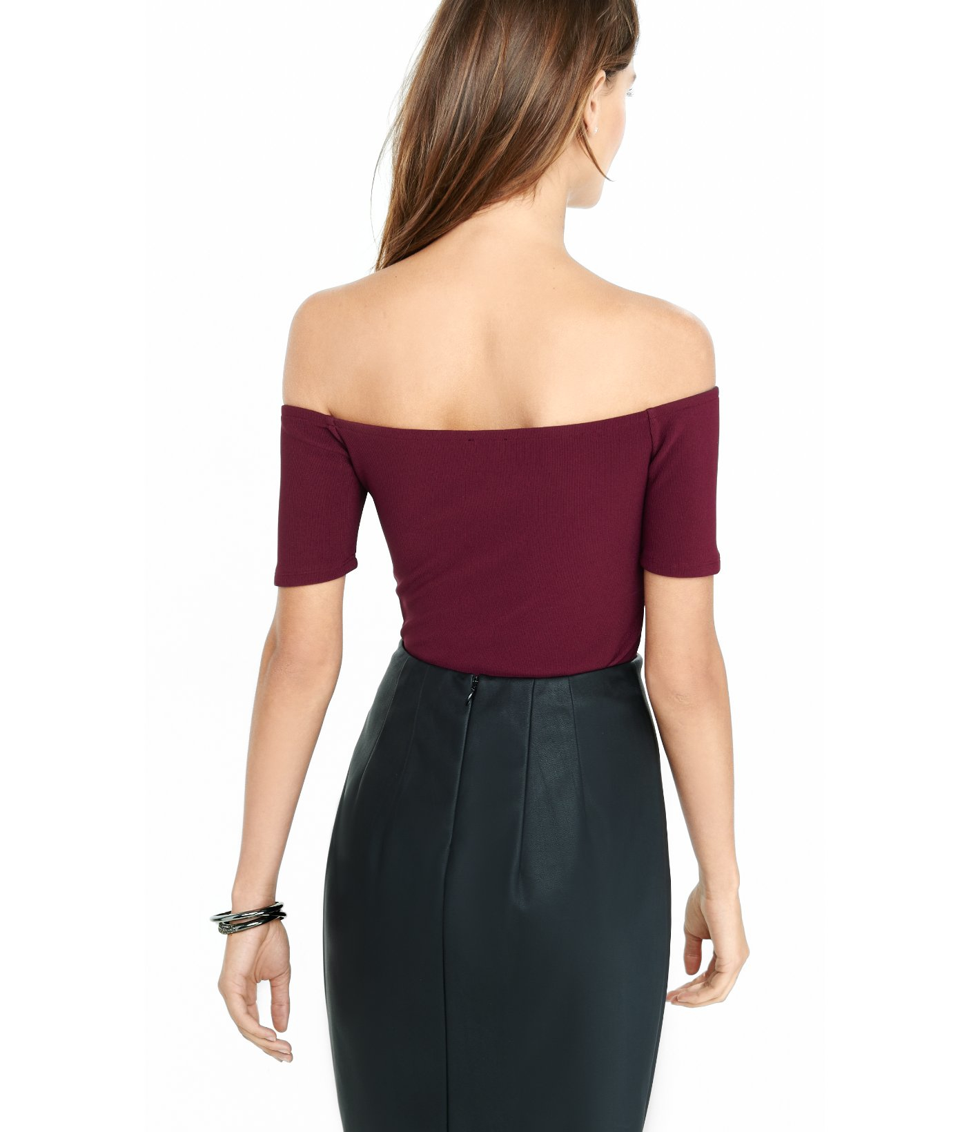 db2462c0c1ae Lyst - Express Off The Shoulder Ribbed Bodysuit in Purple