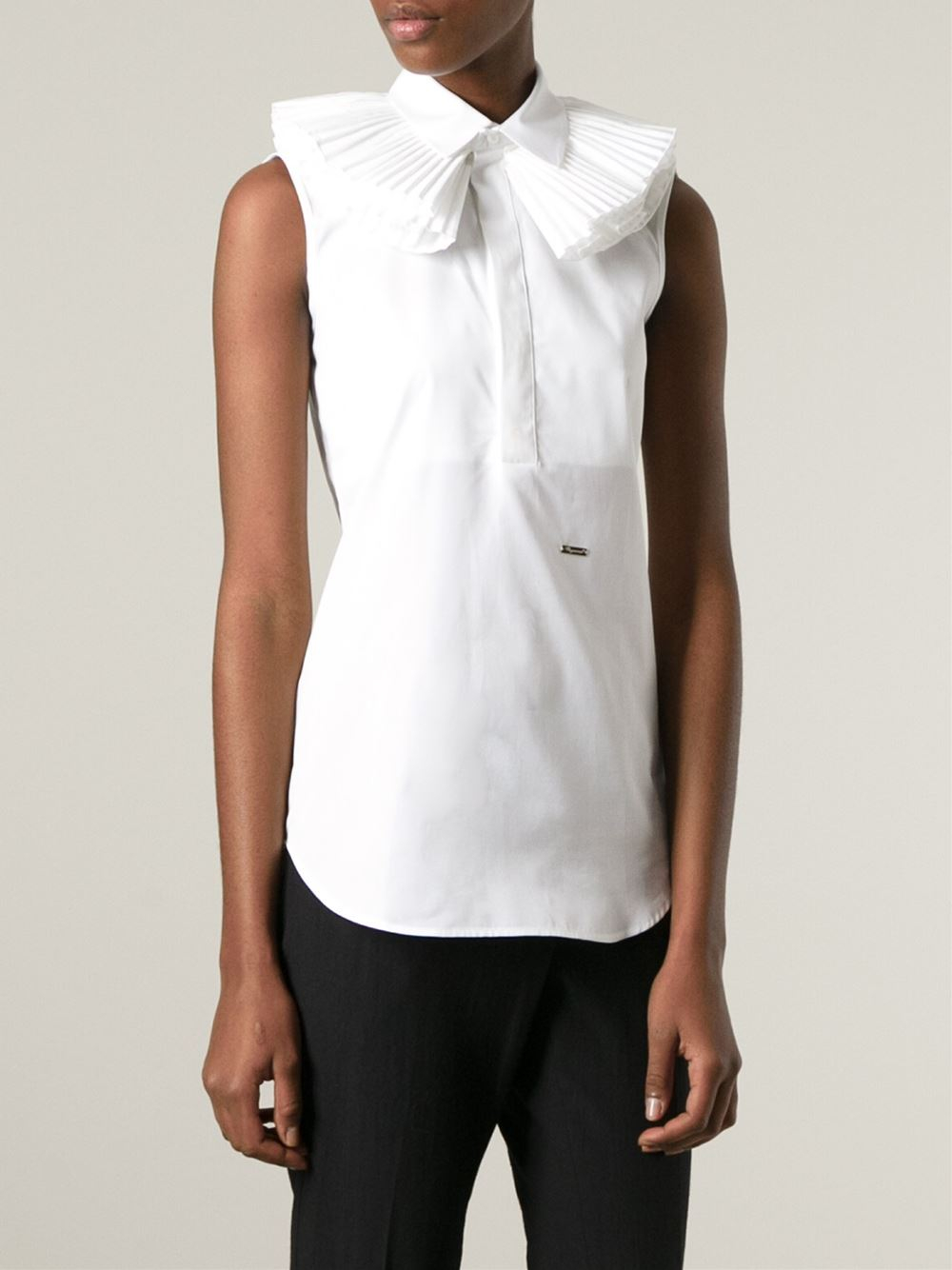 Dsquared Ruffle Collar Sleeveless Top In White Lyst
