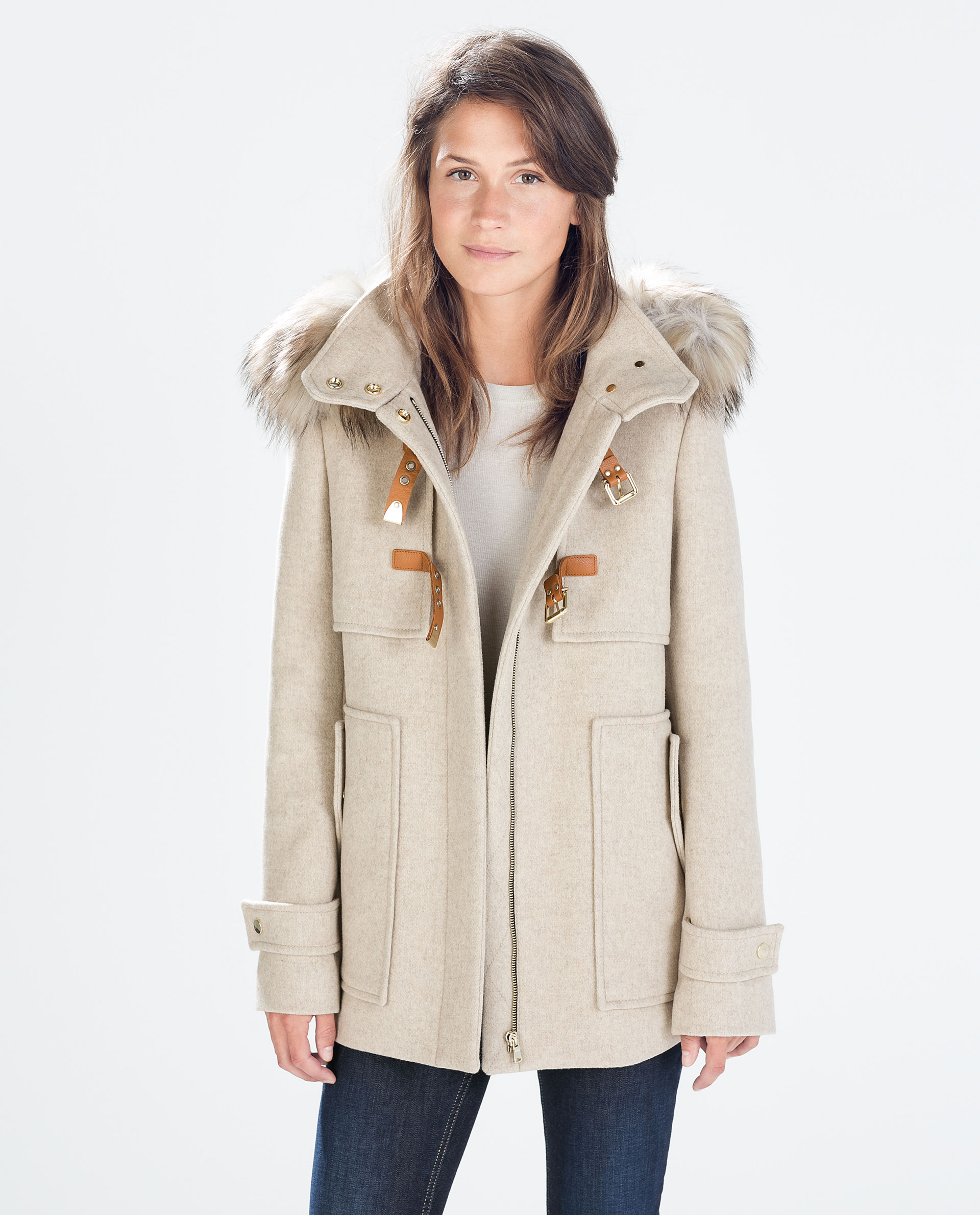 Zara Wool Duffle Coat With Fur Hood in Natural | Lyst