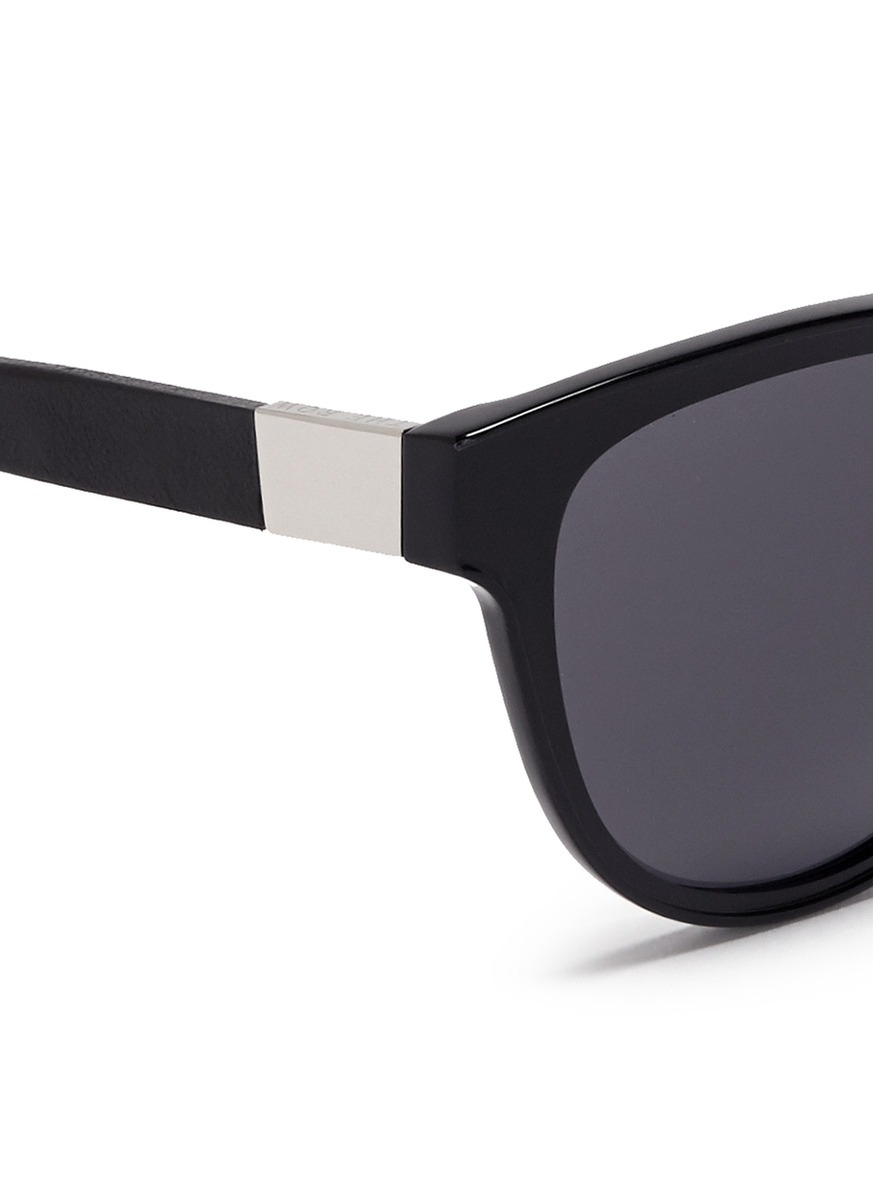 9e45234a7d33 Lyst - The Row X Linda Farrow Leather Temple Cat Eye Sunglasses in Black