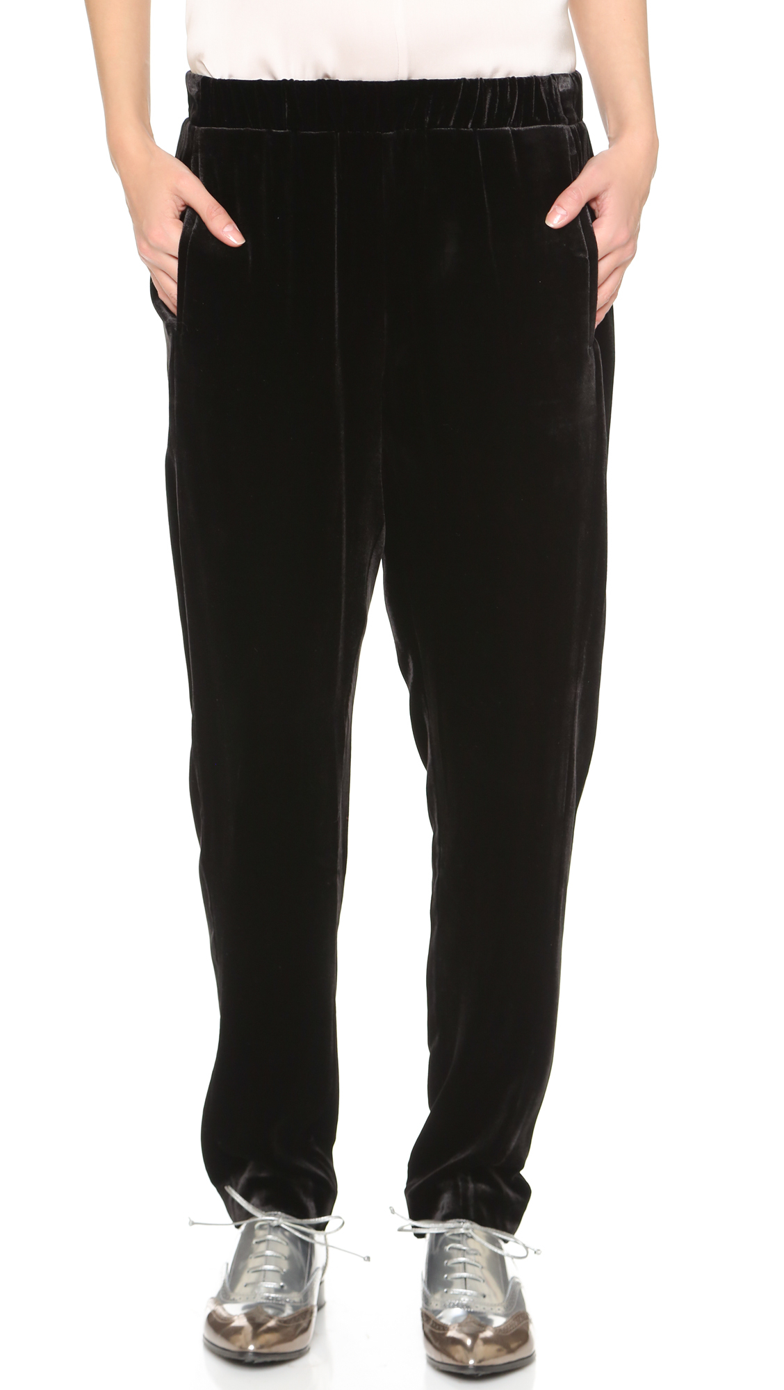 Theory Thorene Velvet Pants - Black in Black | Lyst