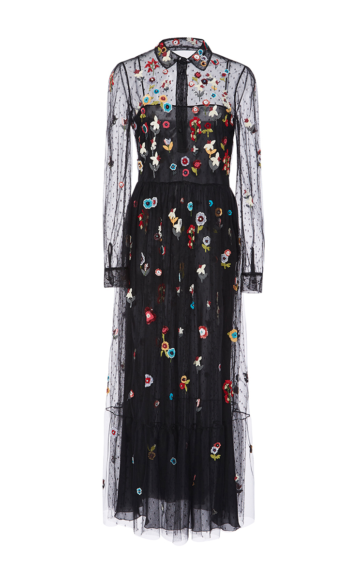 54a2ab5aeb63e RED Valentino Fancy Flower Embroidered Point D'espirit Long Dress in ...