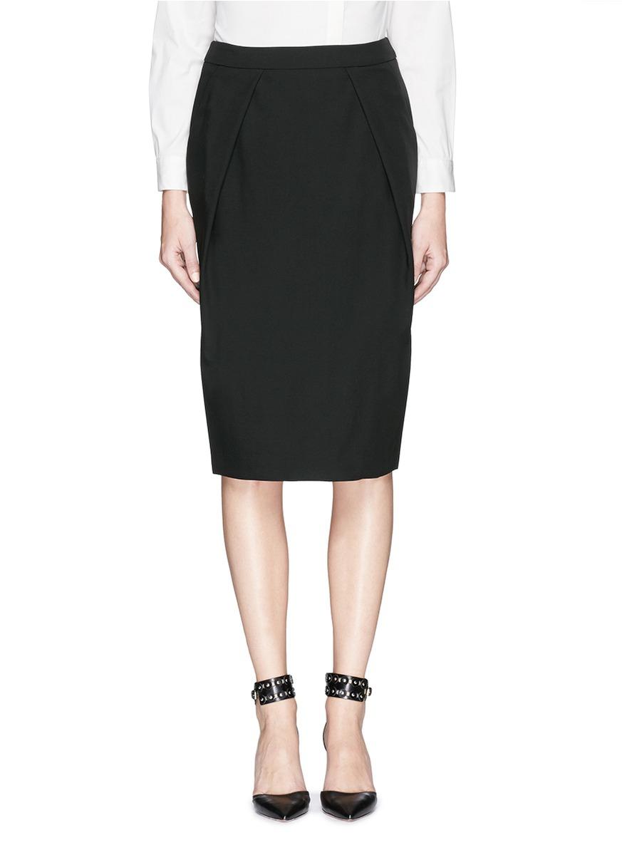 armani wool crepe pencil skirt in black lyst