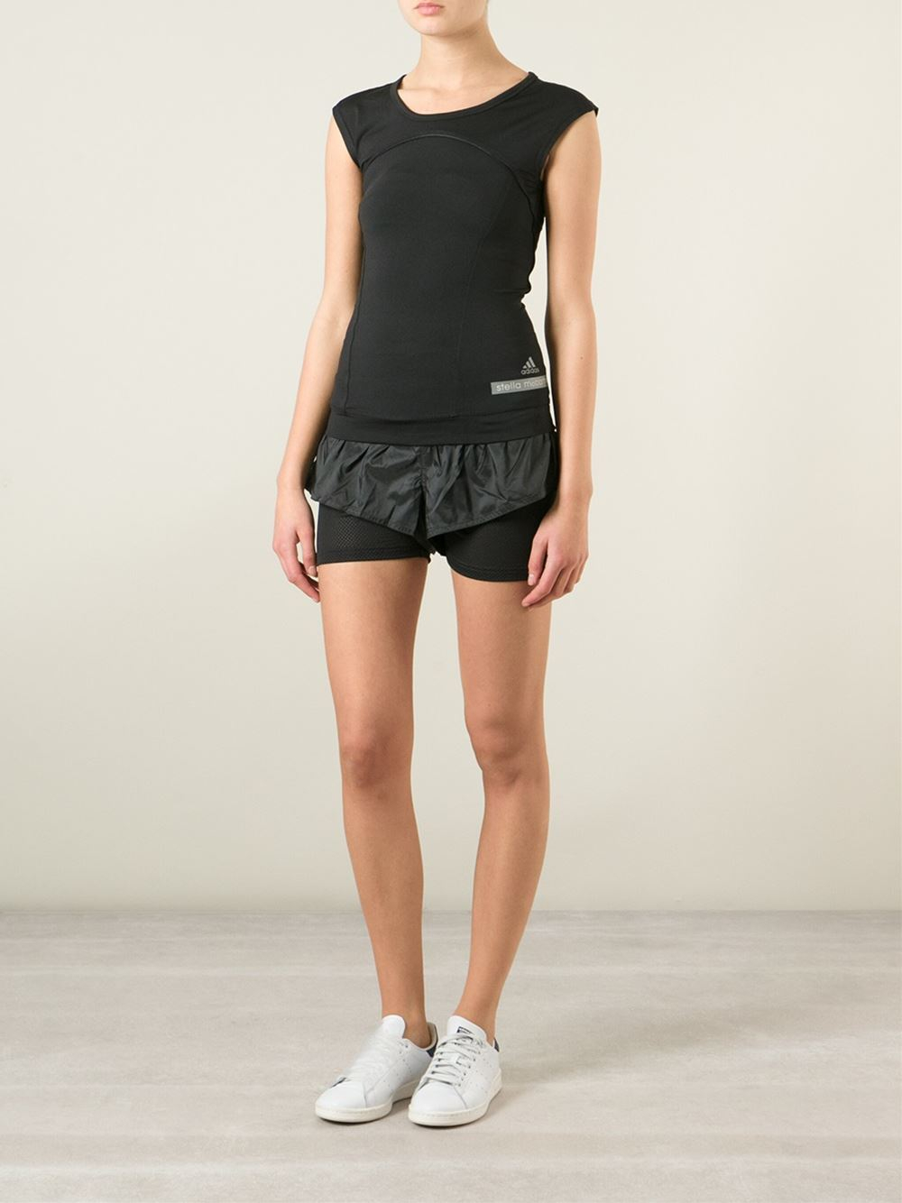 adidas by stella mccartney running tank top in black lyst. Black Bedroom Furniture Sets. Home Design Ideas
