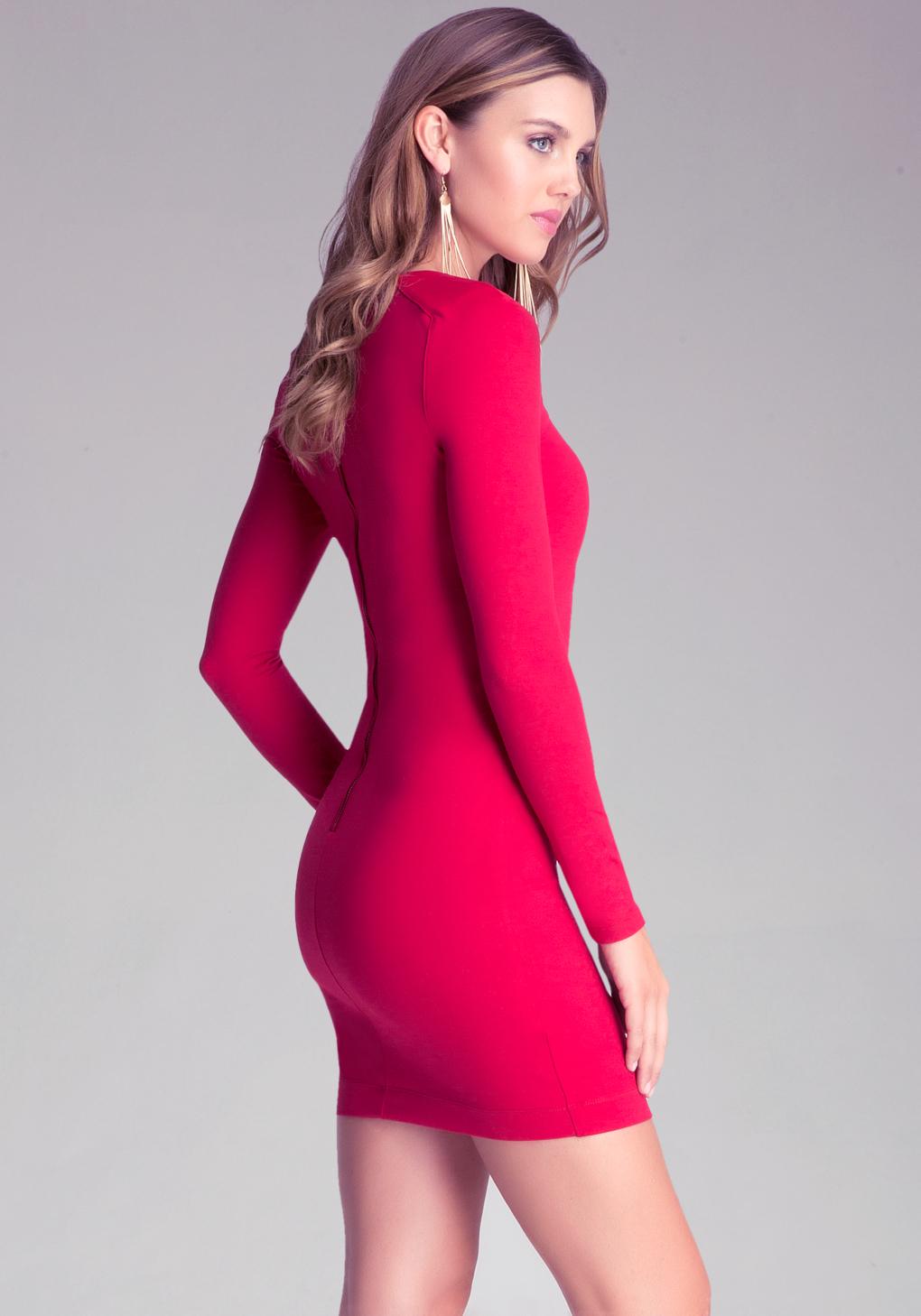 Bebe Long Sleeve Bodycon Dress In Red Lyst