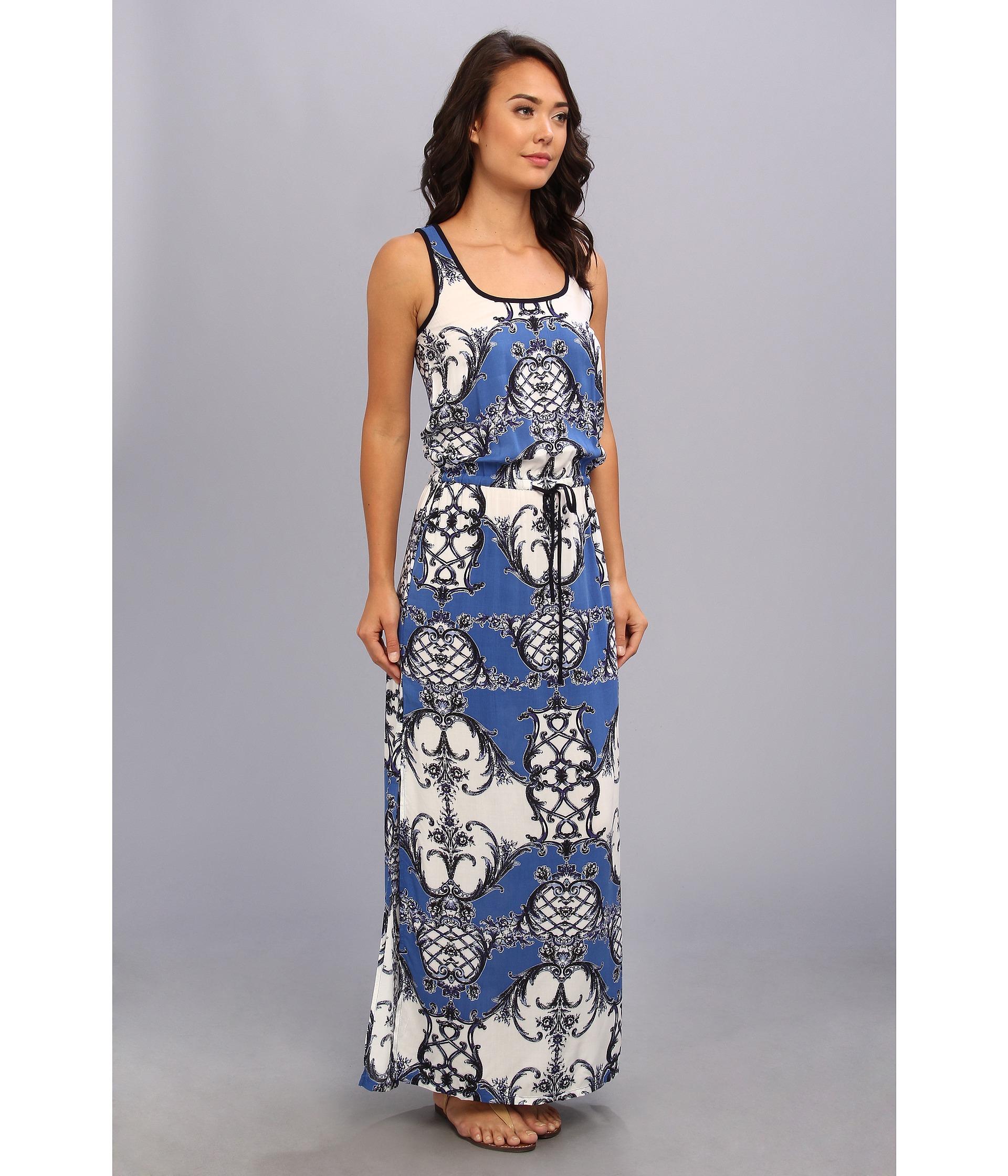 Karen kane Portuguese Tile Maxi Dress in Blue | Lyst