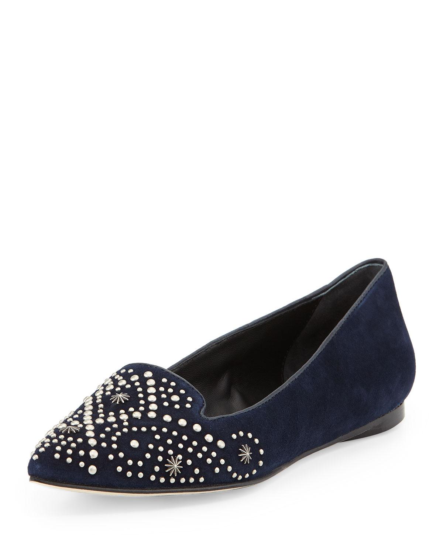 Lyst Sigerson Morrison Vonda Studded Loafers In Blue