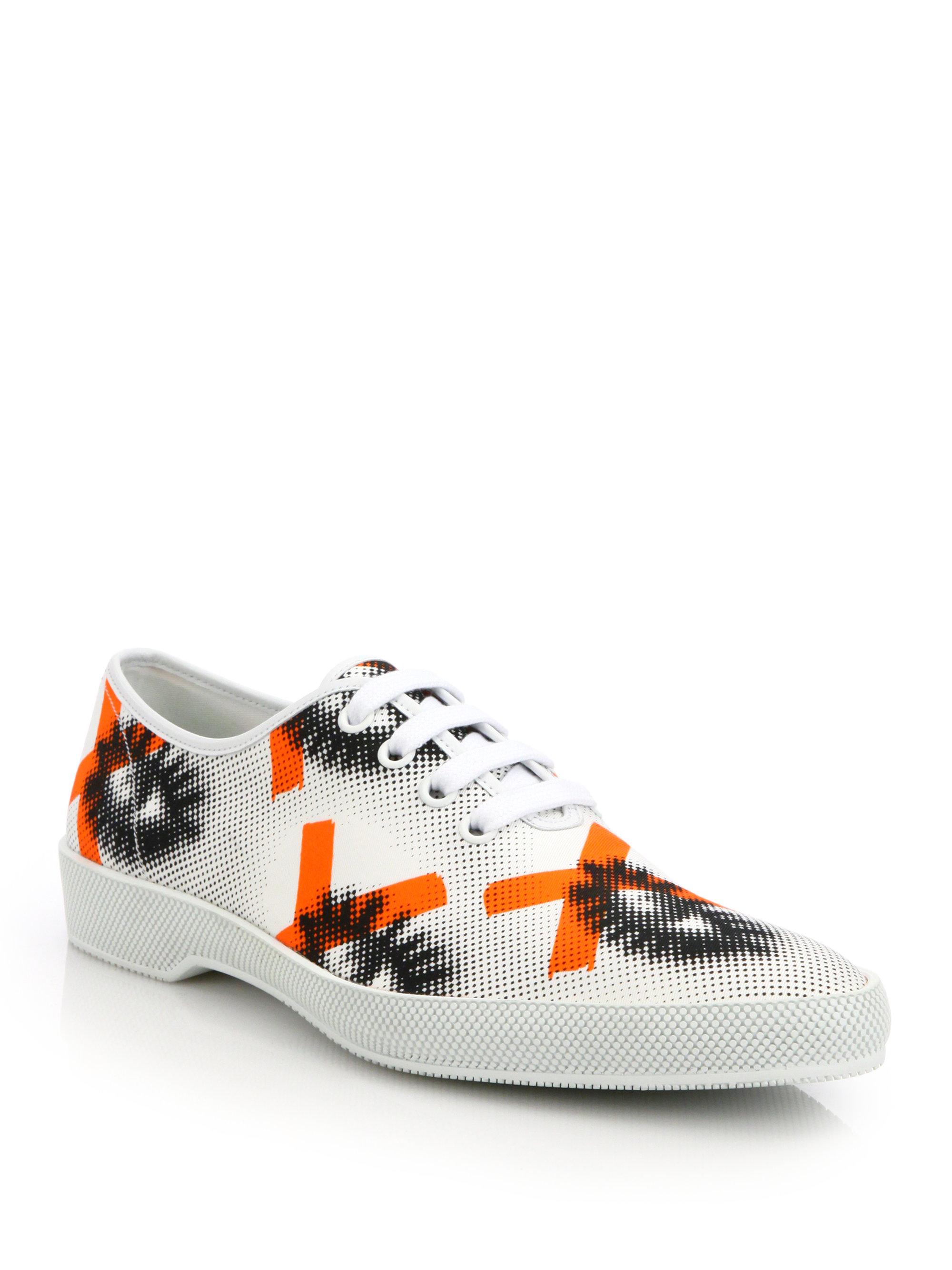 Prada Eye Print Canvas Sneakers In Orange For Men Lyst