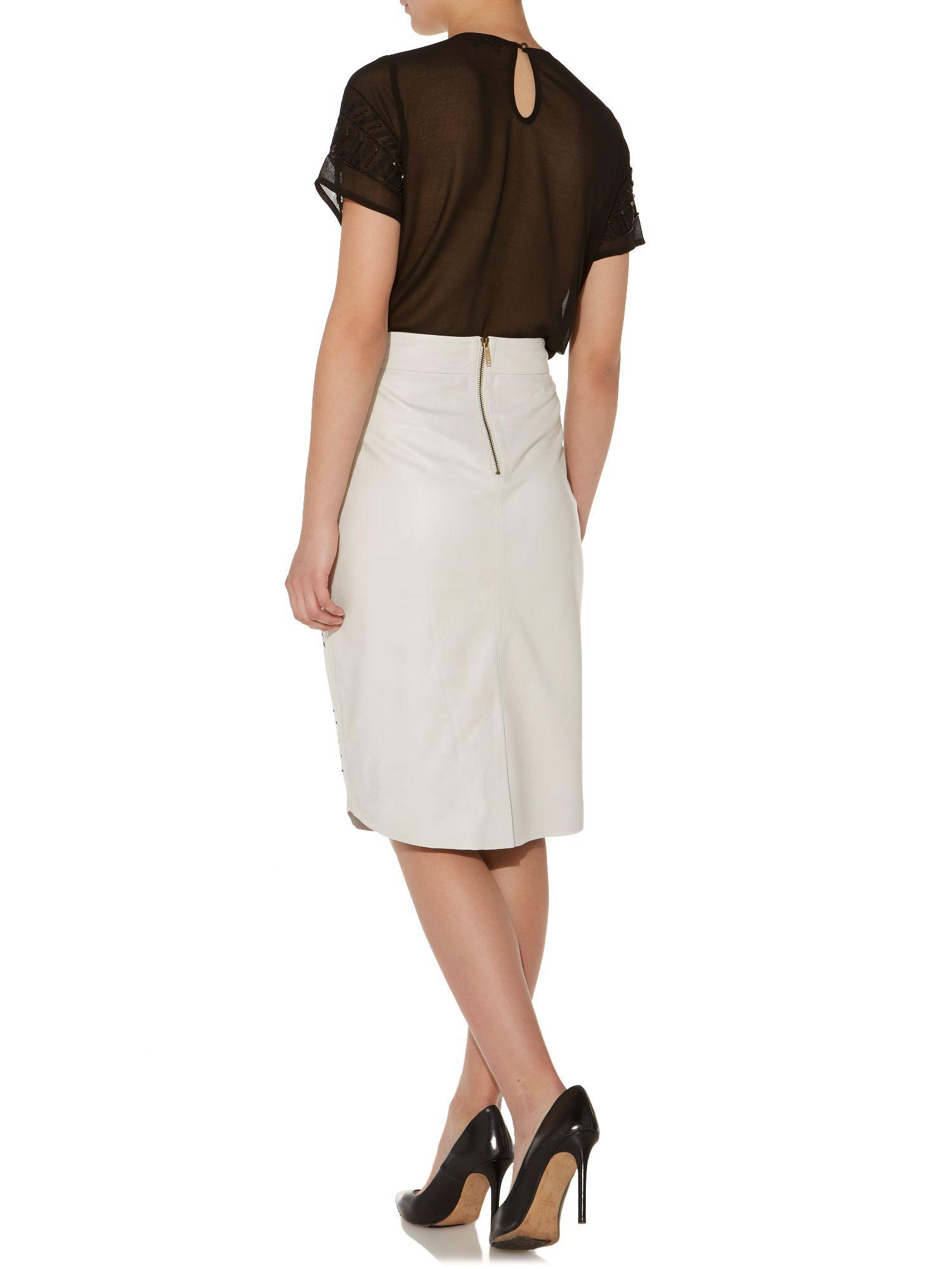biba laser cut leather pencil skirt in white lyst