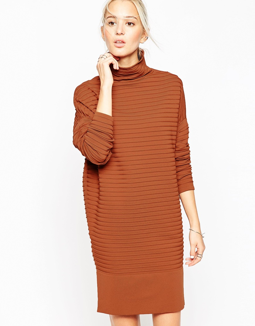 ac229785274 Lyst - ASOS White Rib Ovoid Jumper Dress in Brown