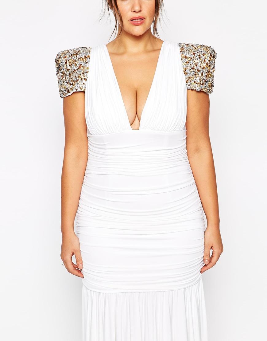 forever unique plus size dolores maxi dress in white | lyst