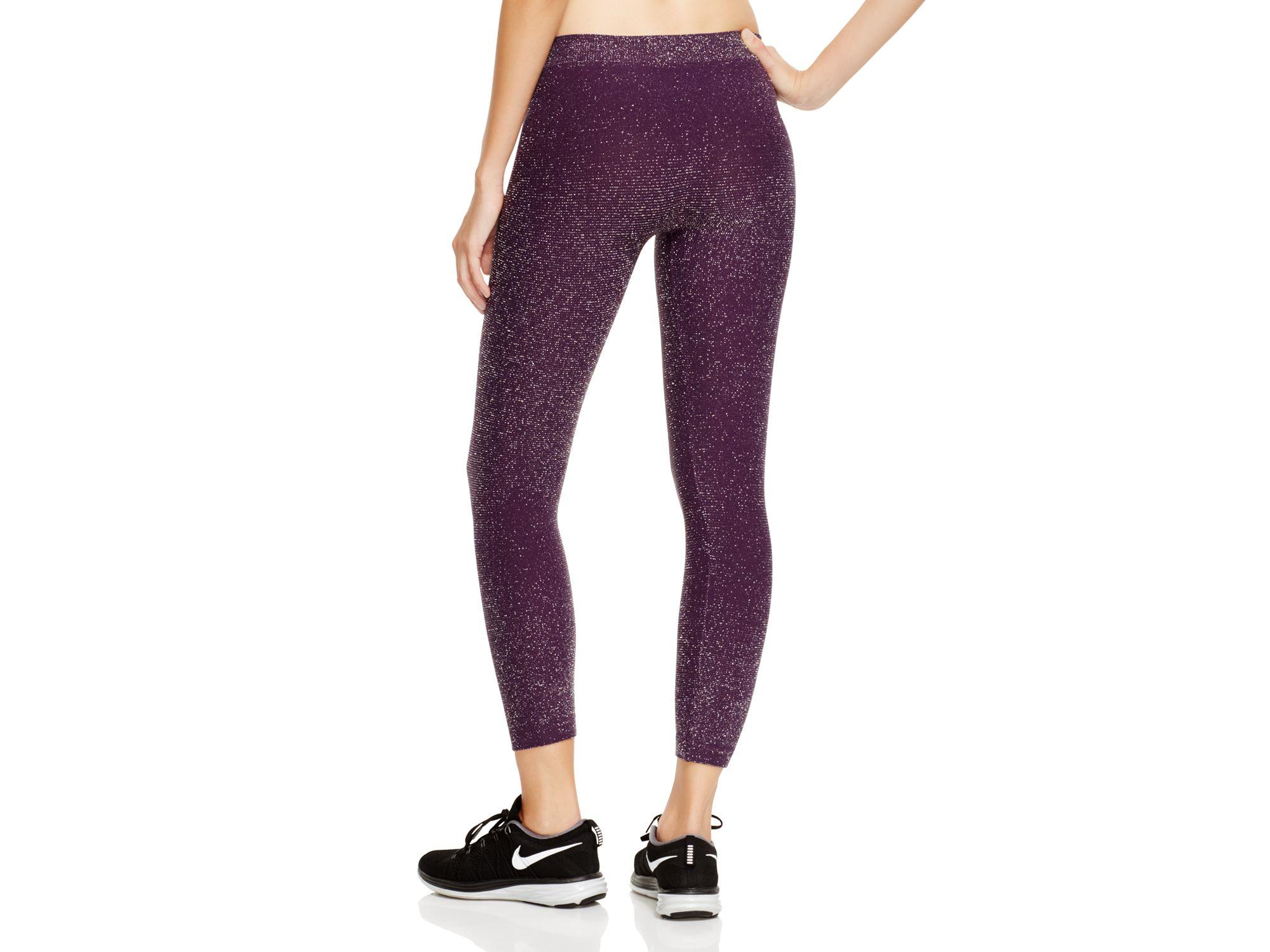 Phat buddha Jane Glitter Capri Workout Pants in Purple | Lyst