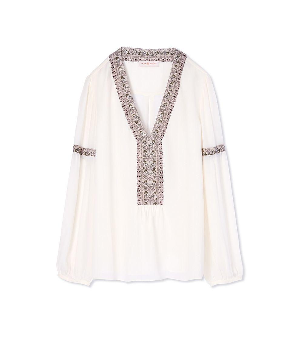 c448967f959 Lyst - Tory Burch Silk Deep V-neck Tunic in White