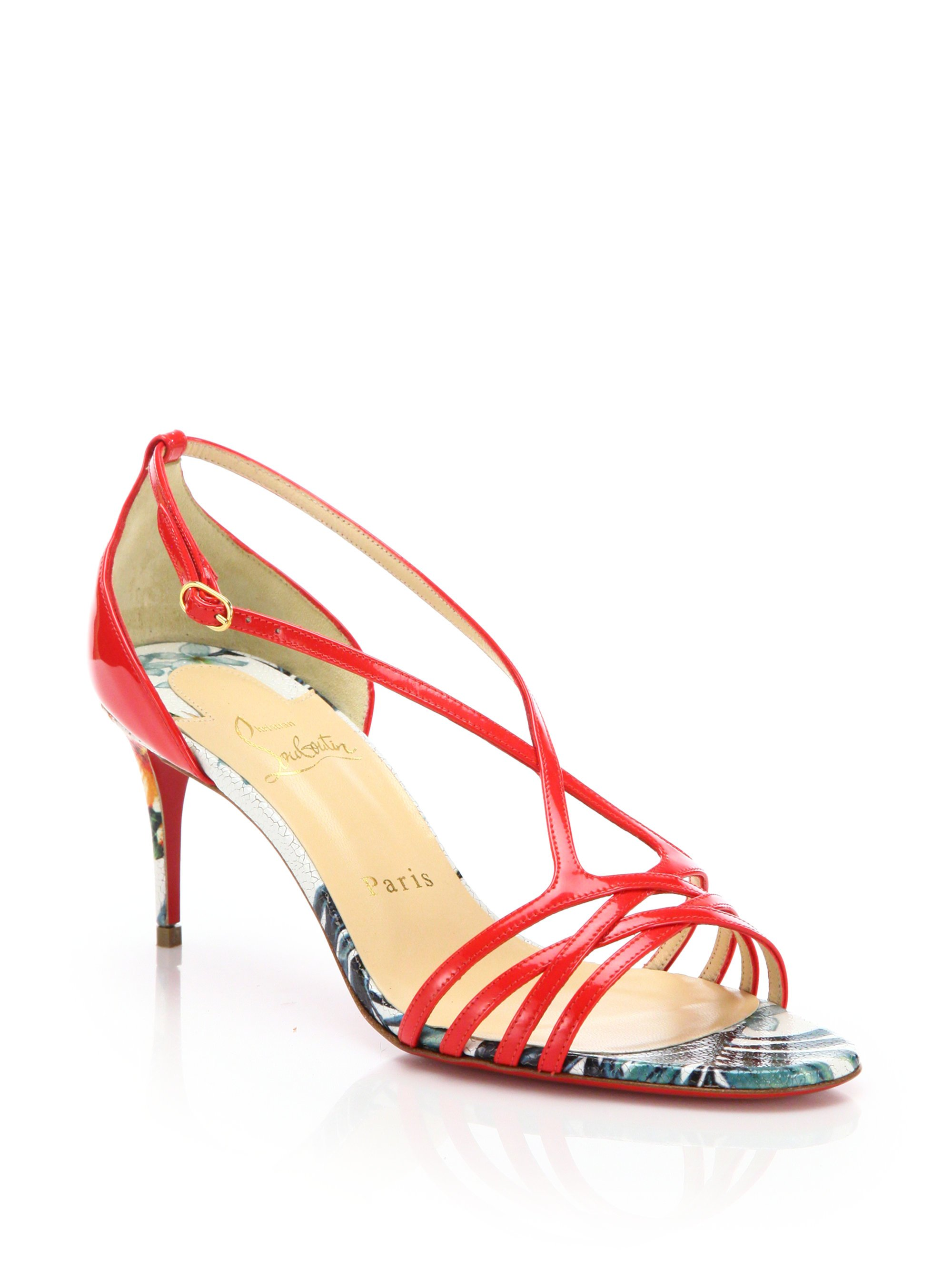 e8725fe76413 Lyst - Christian Louboutin Olydia Patent Leather Sandals in Red