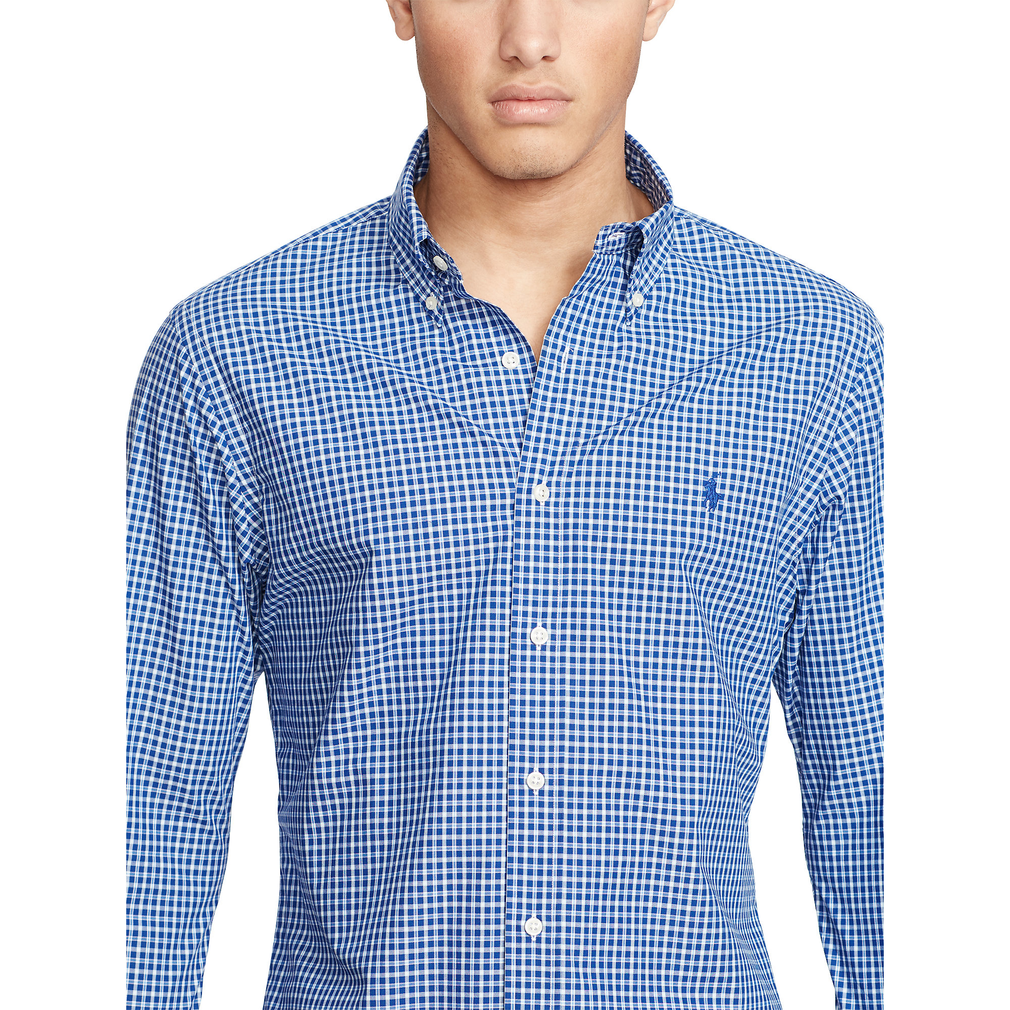 9c02ab29e370 Polo Ralph Lauren Slim-fit Plaid Poplin Shirt in Blue for Men - Lyst