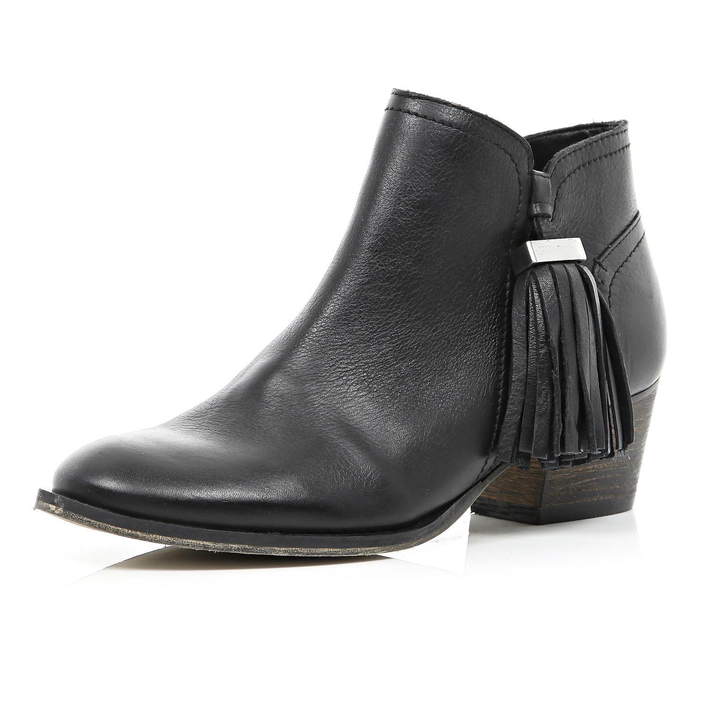 river island black tassel trim western ankle boots in