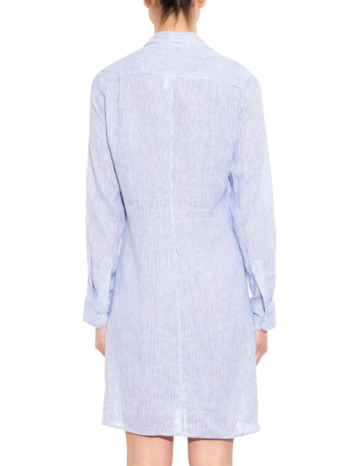 7361a8a4b5 Lyst - Frank   Eileen Murphy Striped Linen Shirtdress in Blue