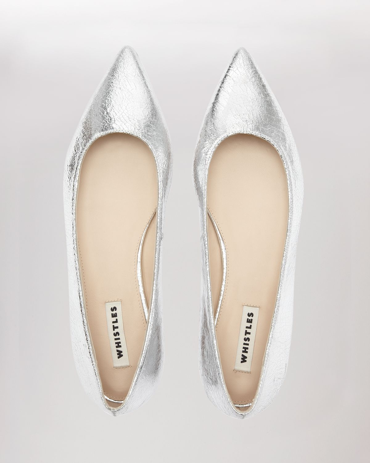 5edae0b0992 Lyst - Whistles Pointed Toe Flats - Brigette Metallic in Metallic