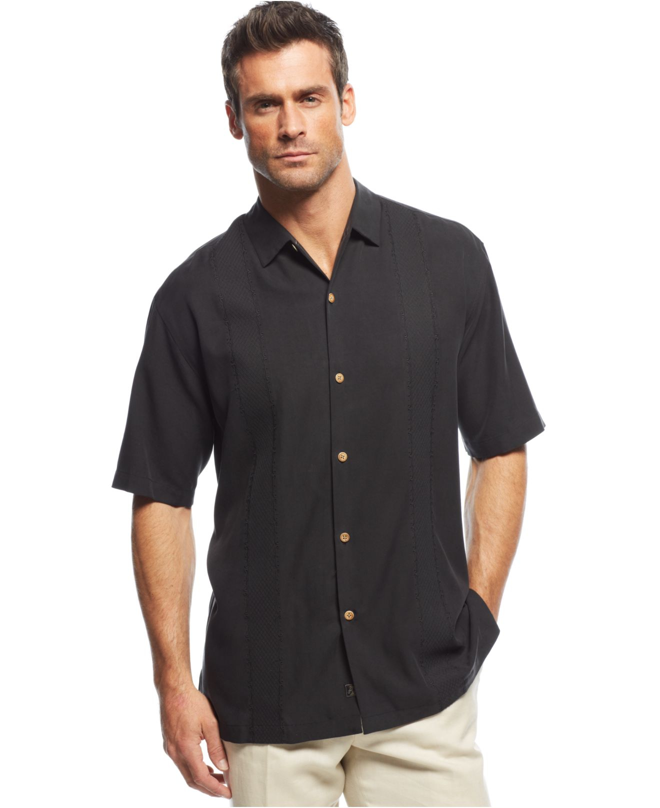 Tommy bahama tropical o 39 aces shirt in black for men lyst for Where to buy tommy bahama shirts