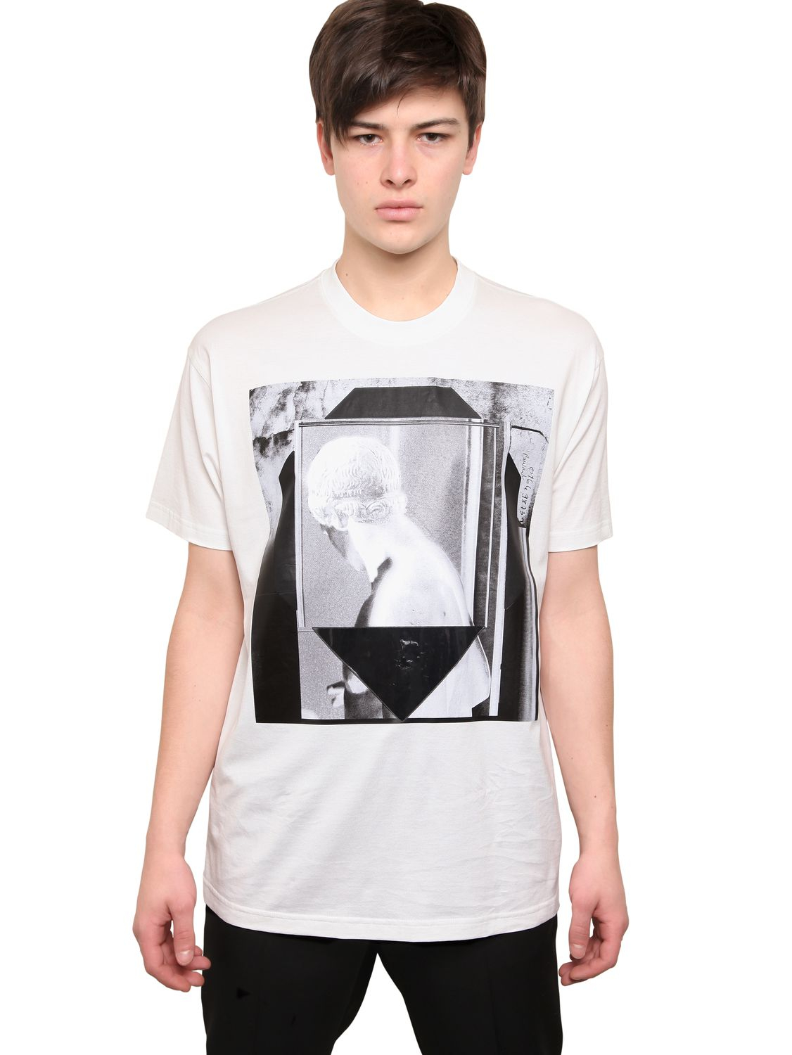 Givenchy columbian fit printed jersey t shirt in white for for Givenchy t shirt man