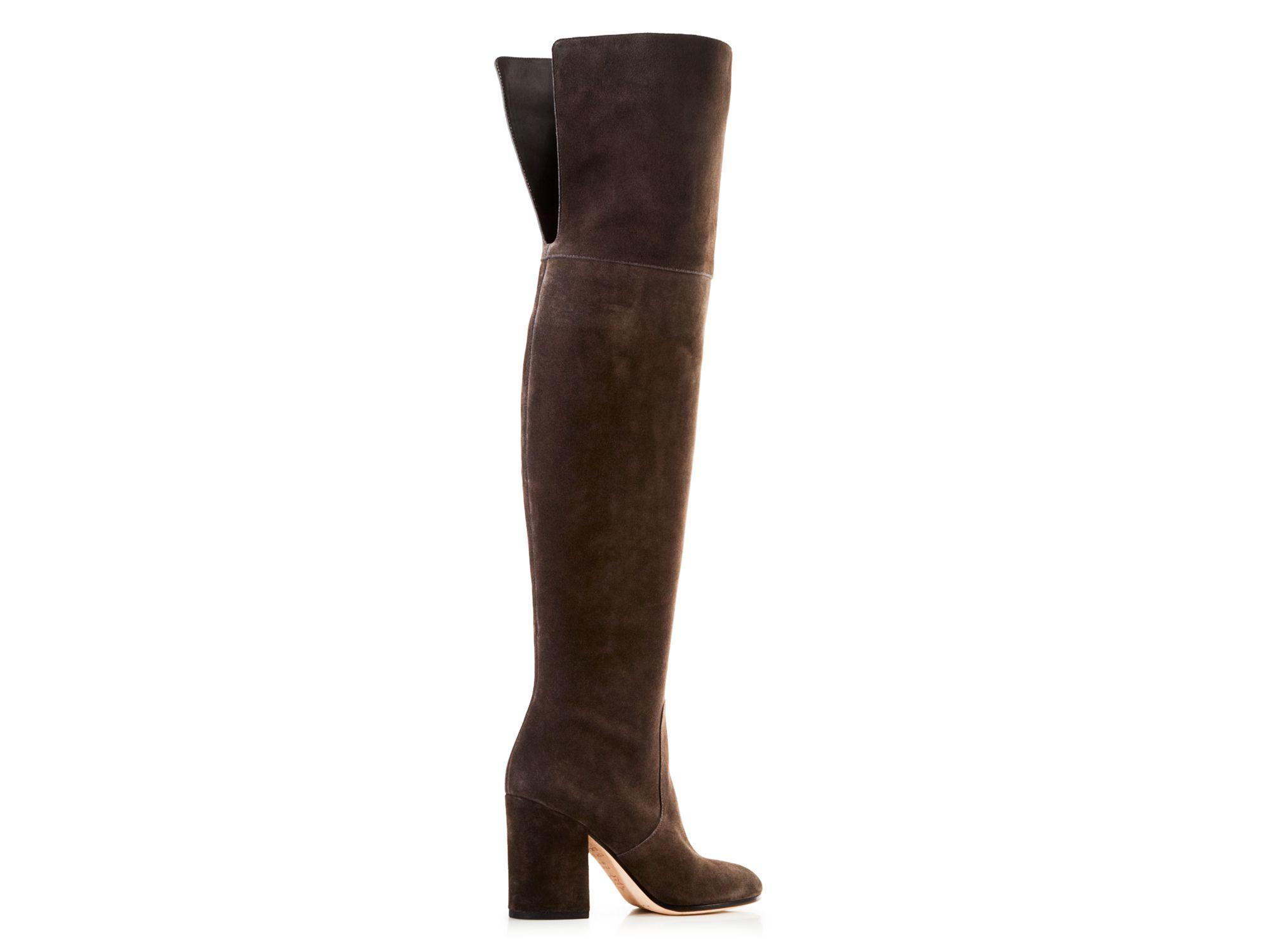 via spiga beline suede the knee mid heel boots in