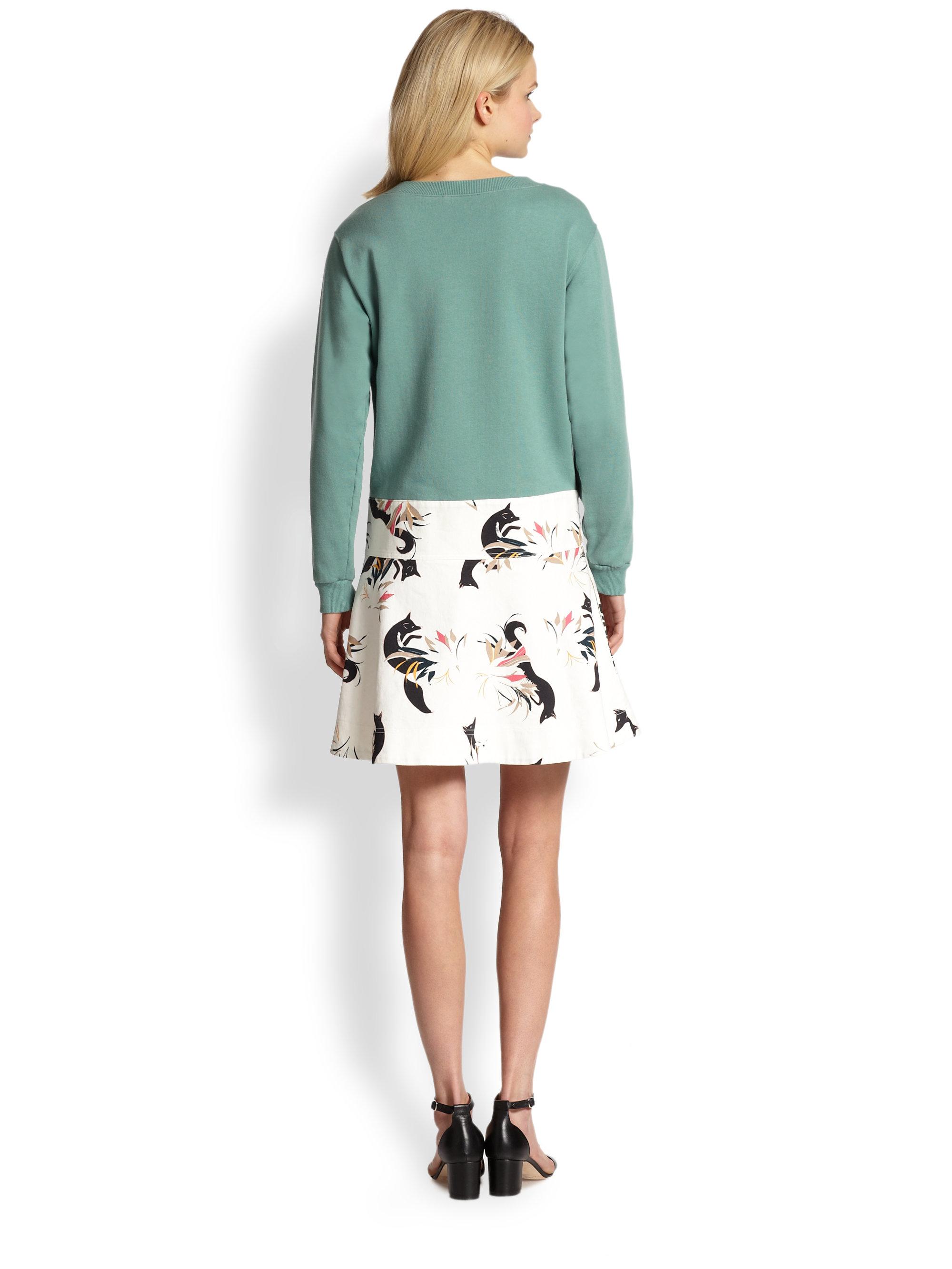 Lyst See By Chlo 233 Fox Print Sweatshirt Dress In Green