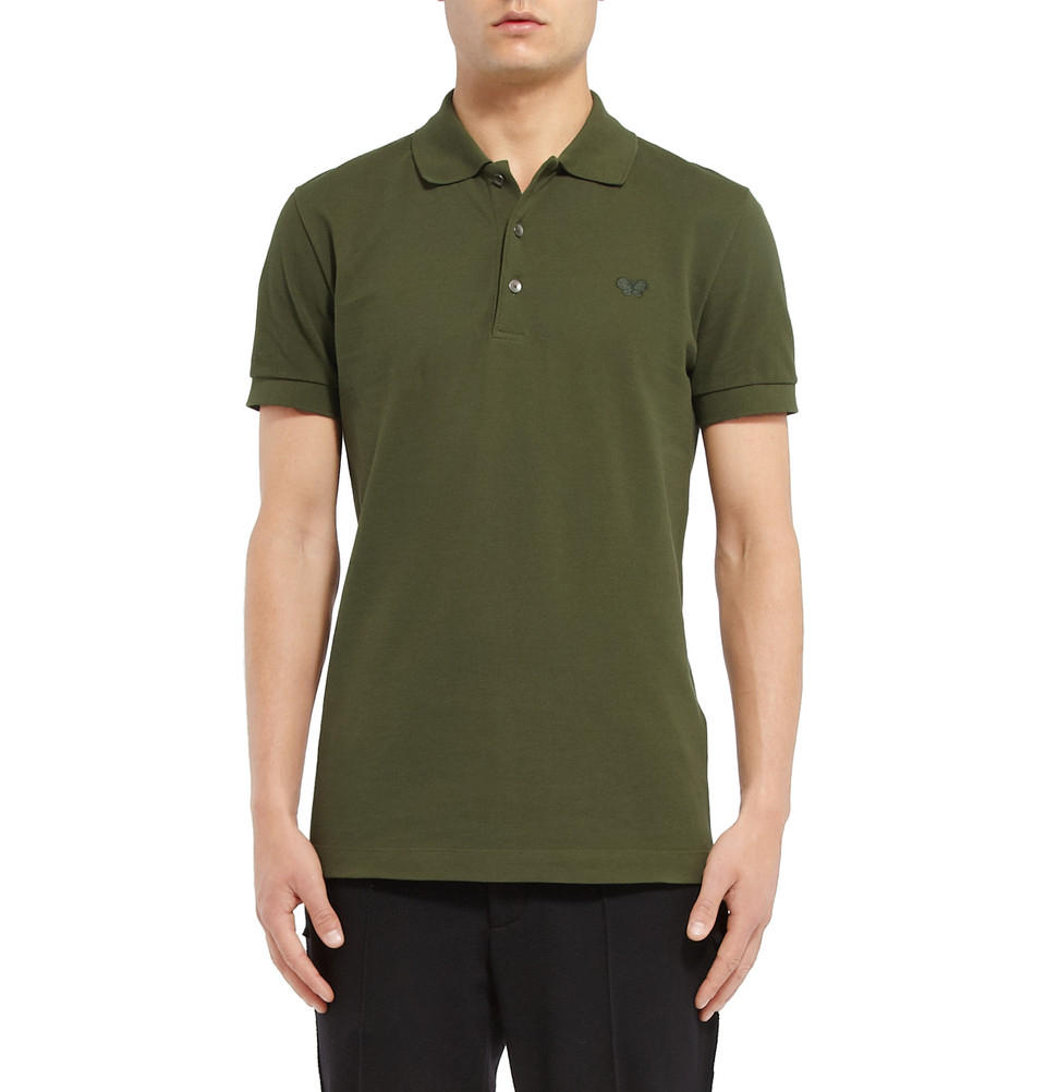 Bottega veneta slim fit cotton piqu polo shirt in green for Bottega veneta t shirt