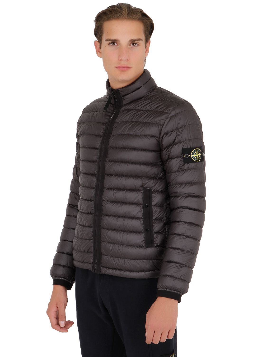 Stone island Ultra Light Nylon Down Jacket in Gray for Men | Lyst