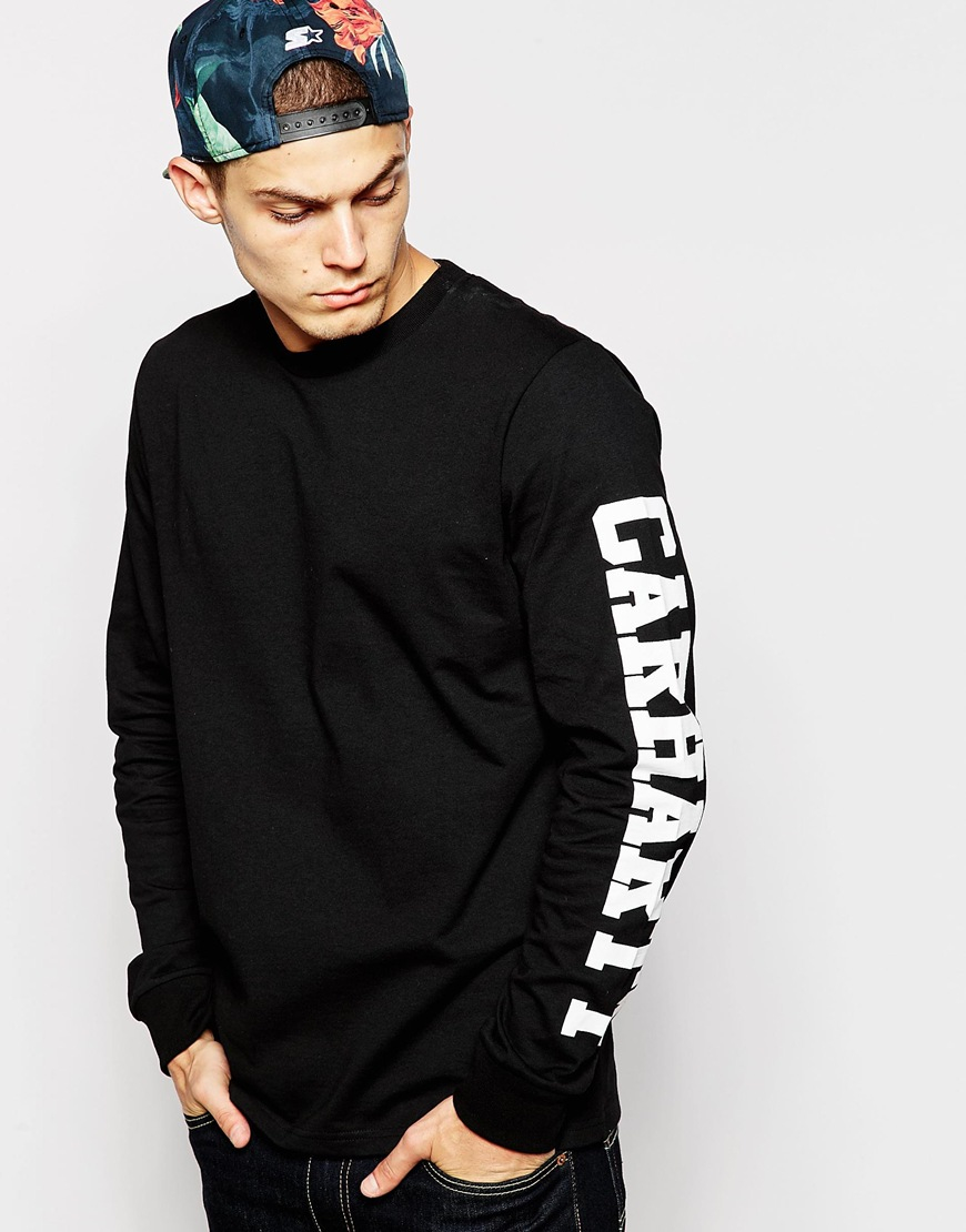 Lyst carhartt long sleeve college t shirt in black for men for T shirts for college guys