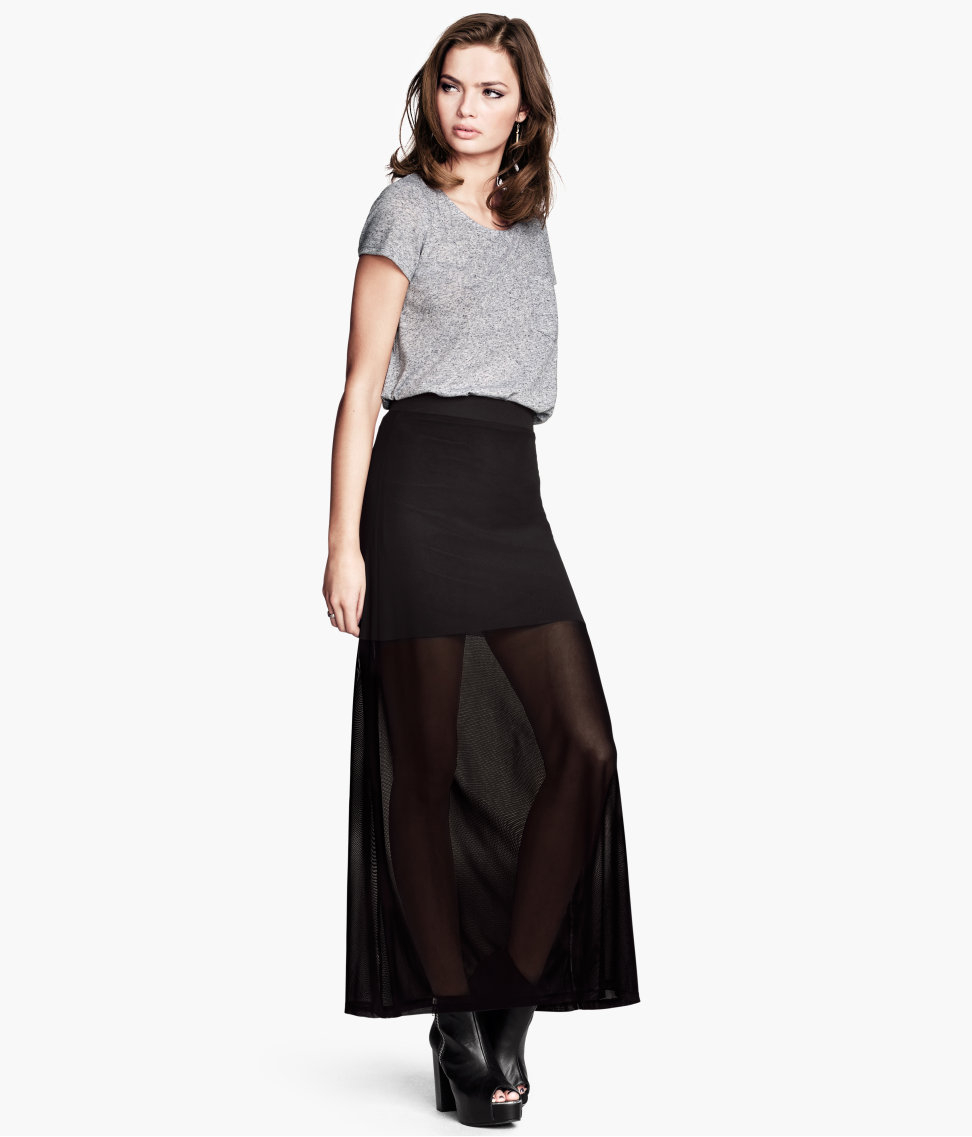 h m maxi skirt in black lyst