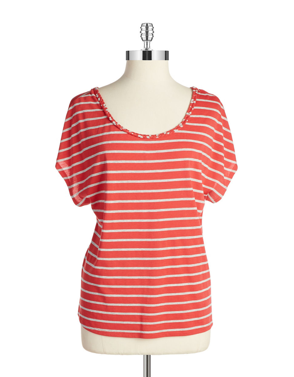 Lyst two by vince camuto cutout tee in red for Vince tee shirts sale
