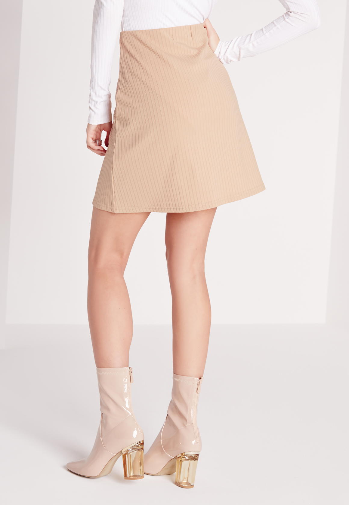 Missguided Ribbed A-line Mini Skirt Camel in Natural | Lyst