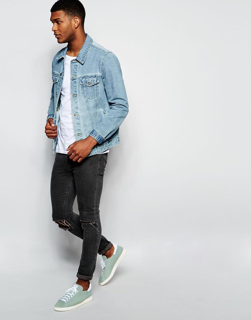 Asos Denim Jacket In Slim Fit In Mid Blue Wash in Blue for Men | Lyst