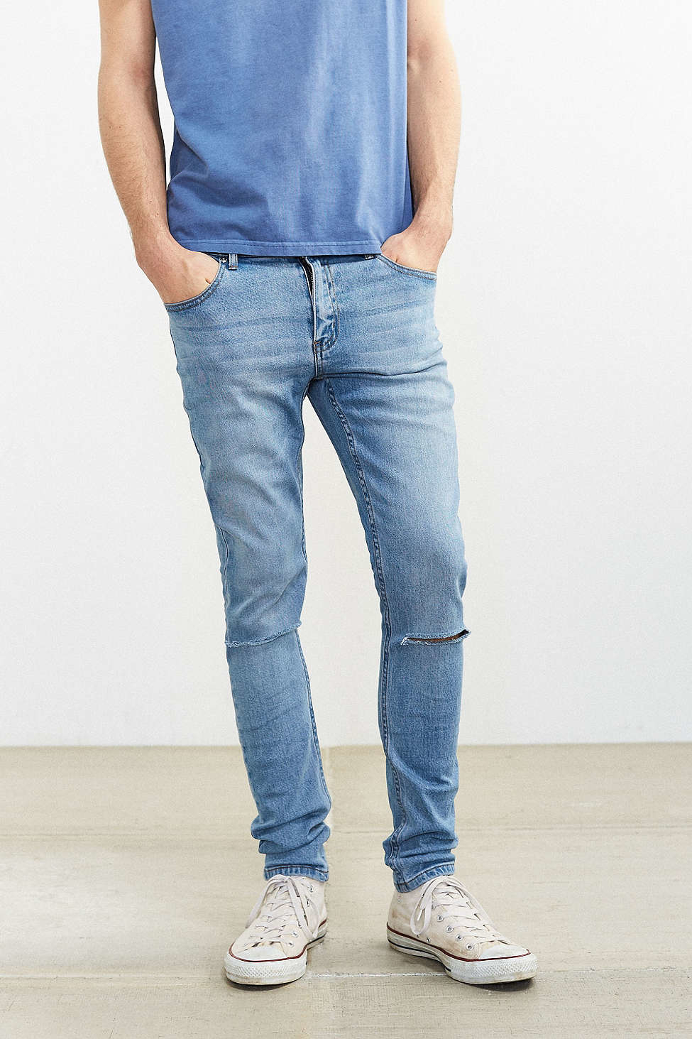 Cheap monday Tight Stonewash Destroyed Skinny Jean in Blue for Men ...