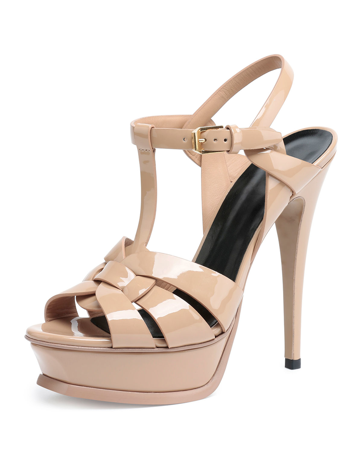 Women S Heeled Platform Sandal   Natural Nude Beige Patent Leather