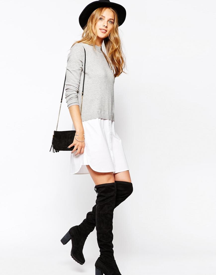 Lyst - Vila 2 In 1 Jumper Shirt Dress - Multi