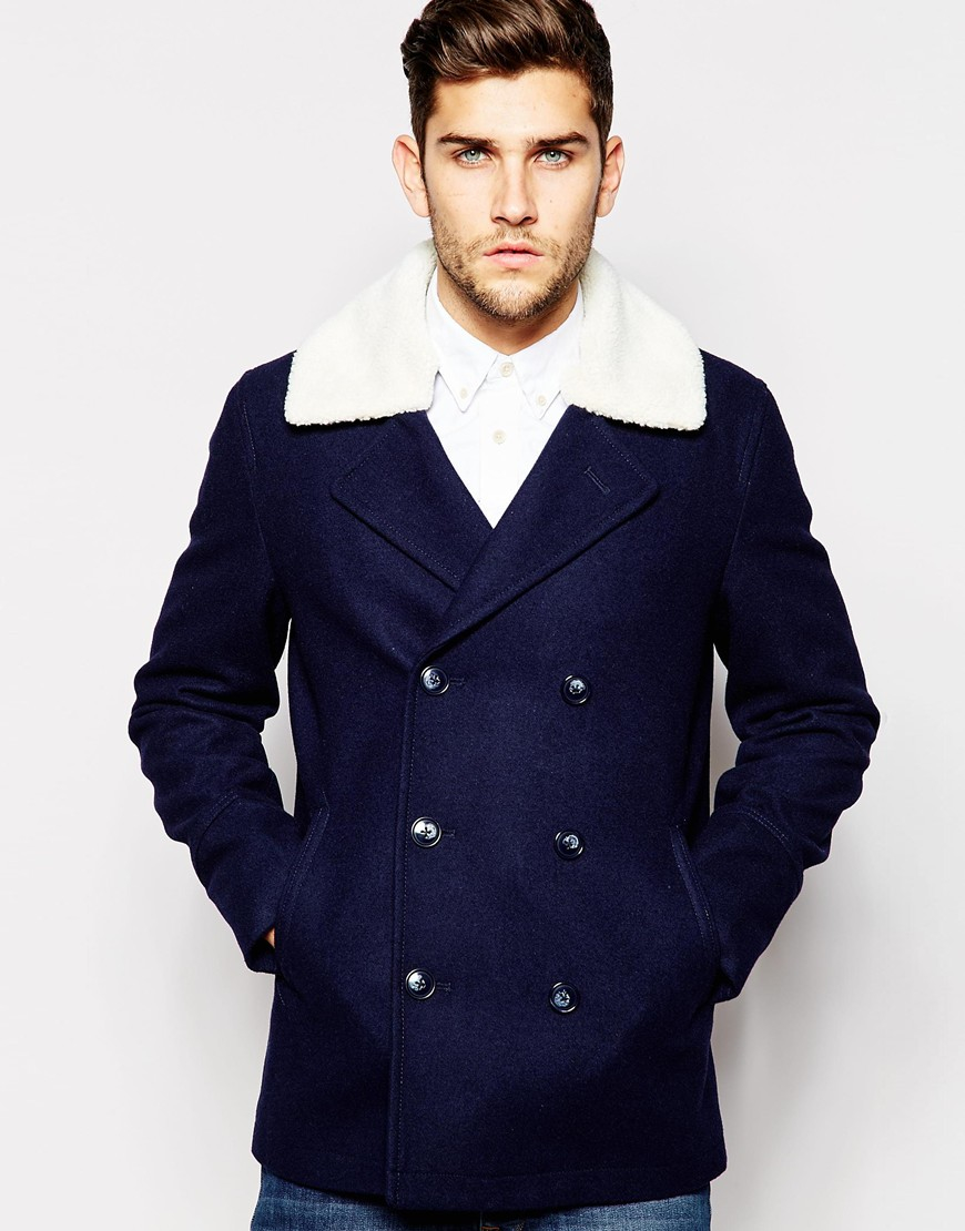 Asos Wool Peacoat With Faux Shearling Collar In Navy in Blue for