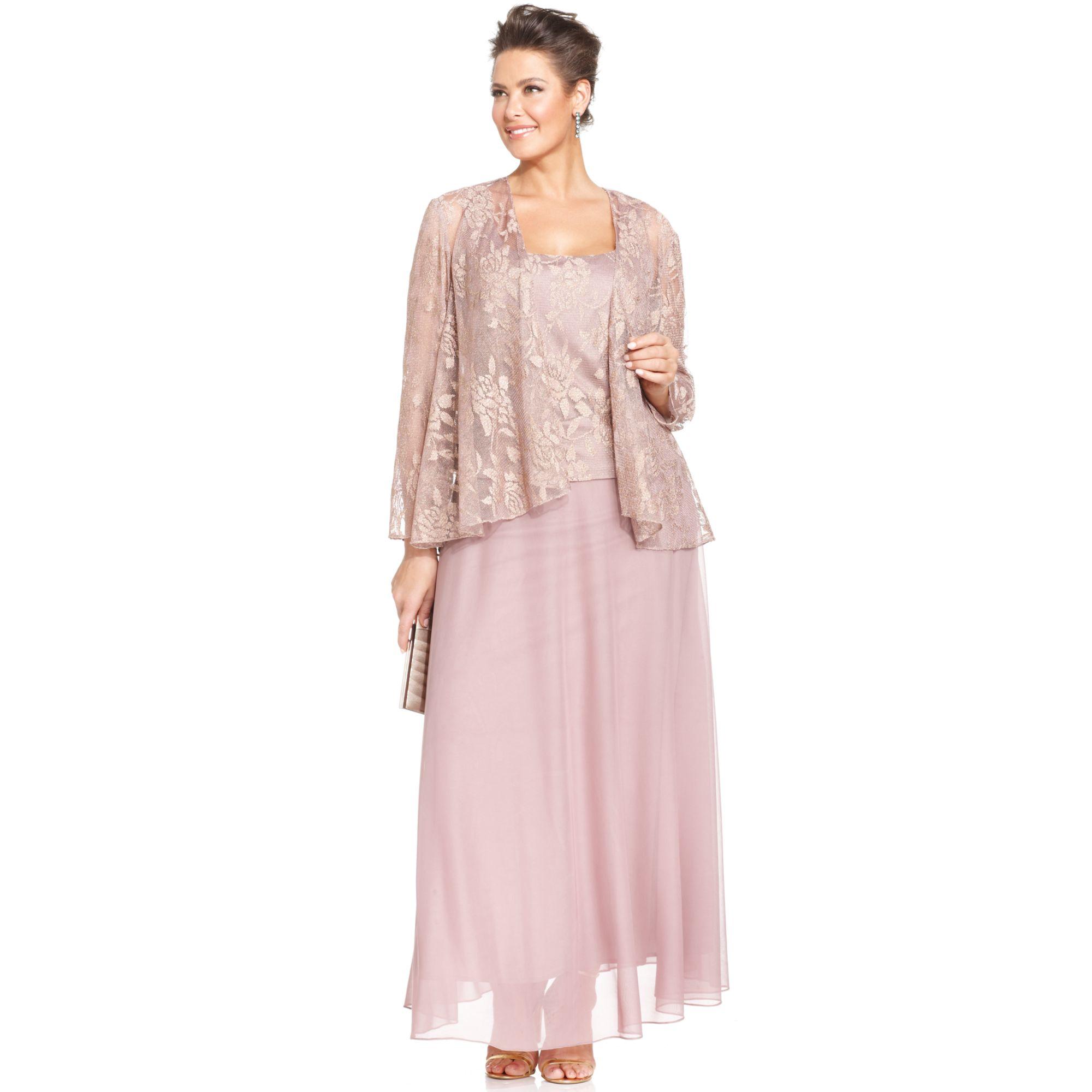 Patra Plus Size Metallic Lace Dress and Jacket in Metallic | Lyst