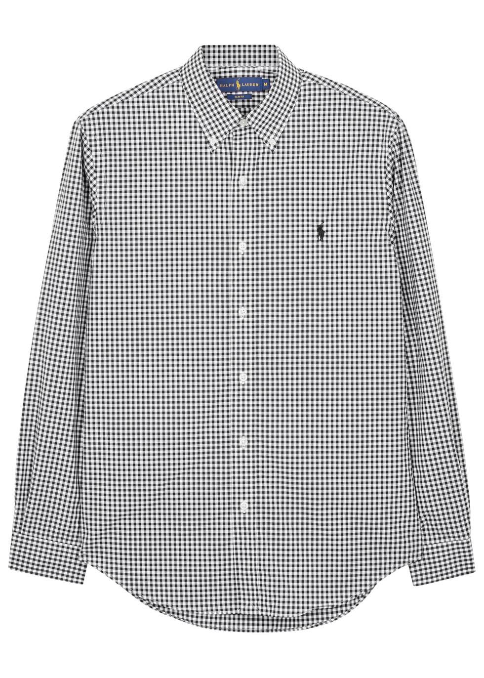 Lyst polo ralph lauren monochrome slim checked cotton for Black and white check mens shirt