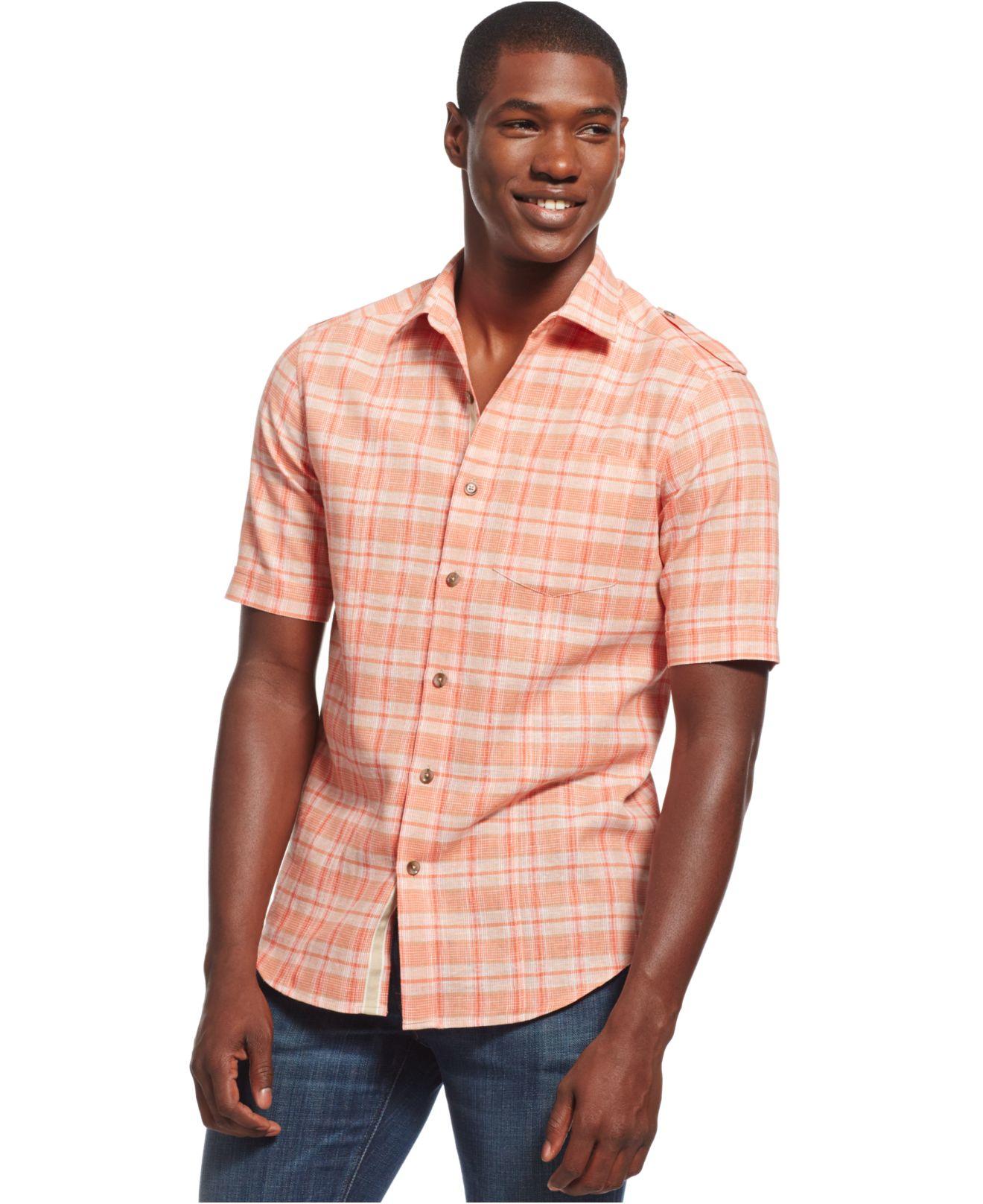 Lyst sean john big and tall check shirt in orange for men for Sean john t shirts for mens