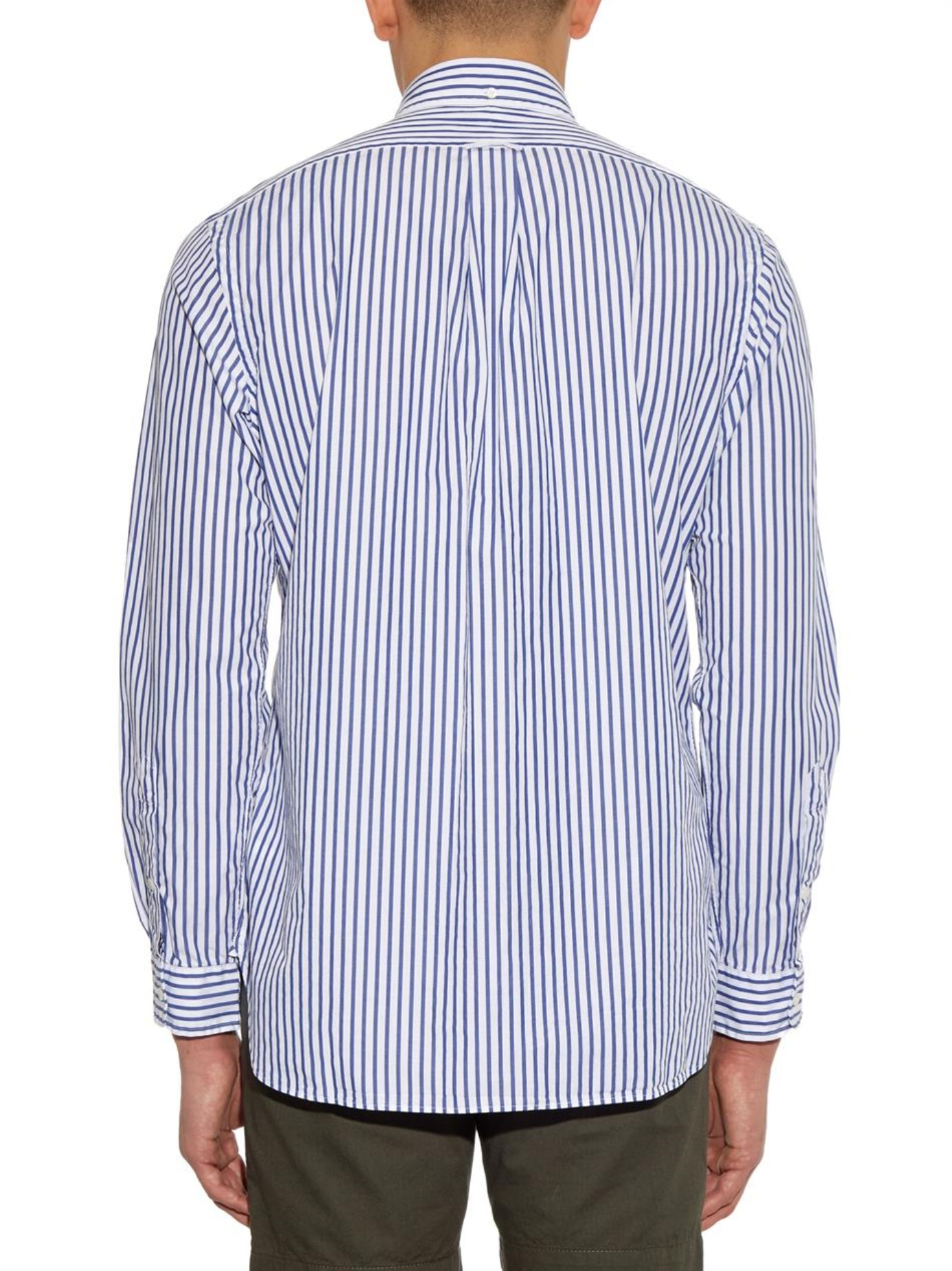 d503ca93870 Polo Ralph Lauren Custom-fit Striped Cotton Shirt in Blue for Men - Lyst