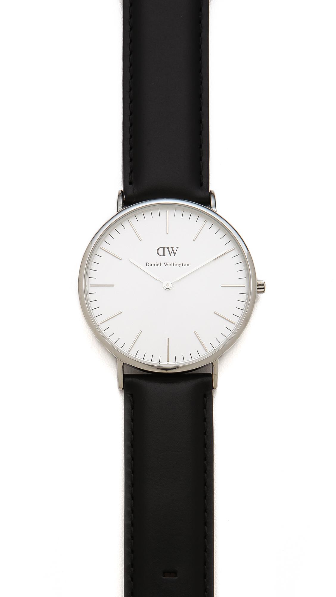 daniel wellington sheffield 40mm watch with black leather. Black Bedroom Furniture Sets. Home Design Ideas