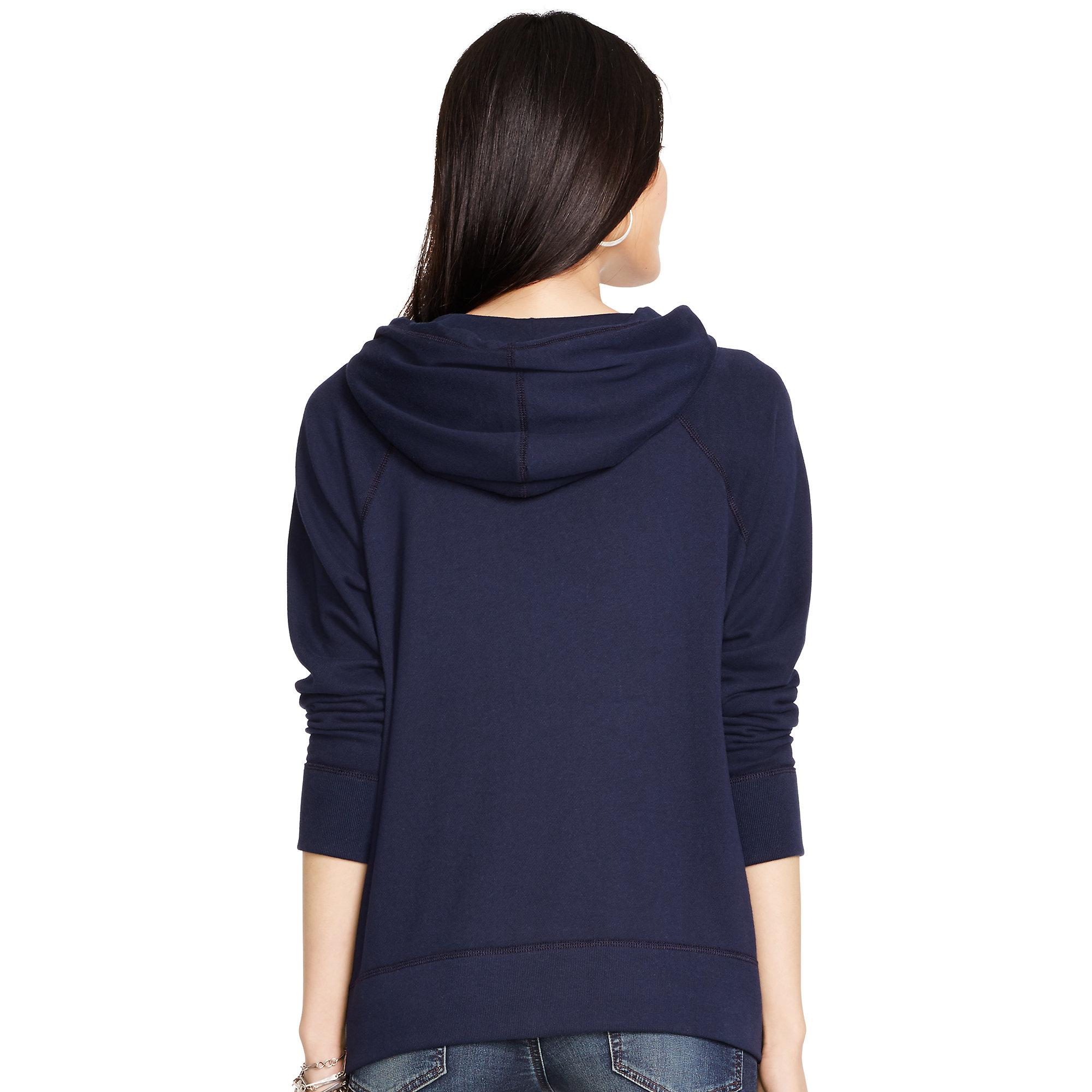 polo ralph lauren cotton blend fleece hoodie in blue lyst. Black Bedroom Furniture Sets. Home Design Ideas