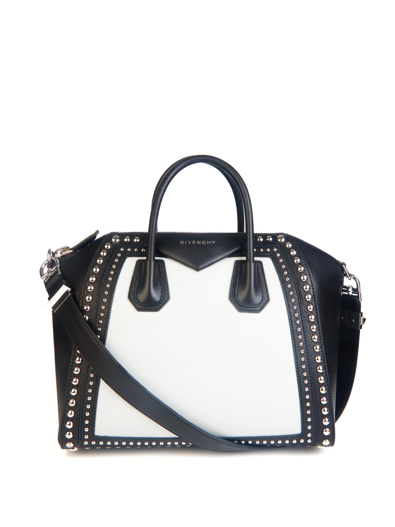 e43c8e983442 Lyst - Givenchy Antigona Studded Medium Leather Tote in Black