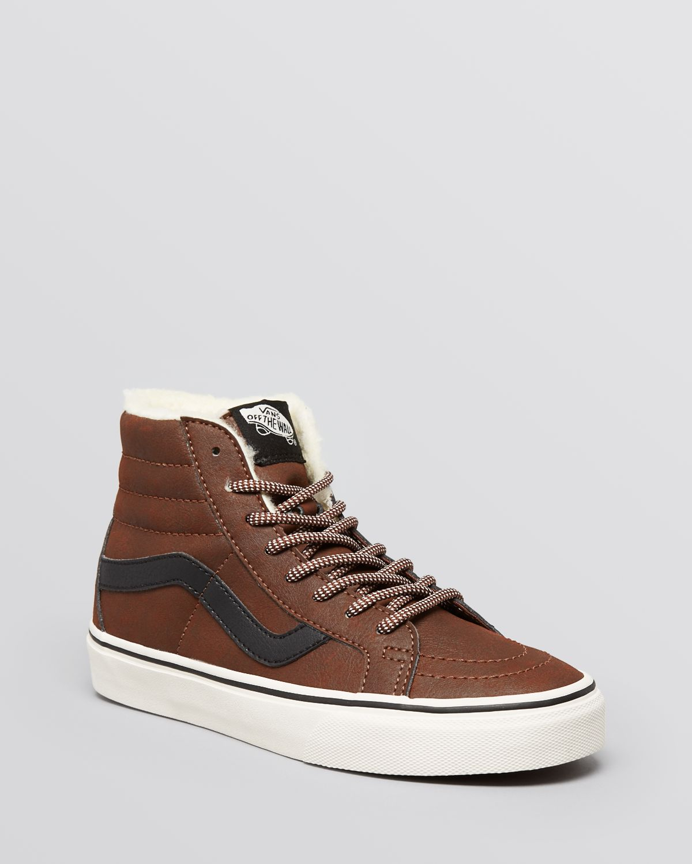 Lyst - Vans Lace Up High Top Sneakers - Sk8-Hi Reissue in Brown 9d4db0450