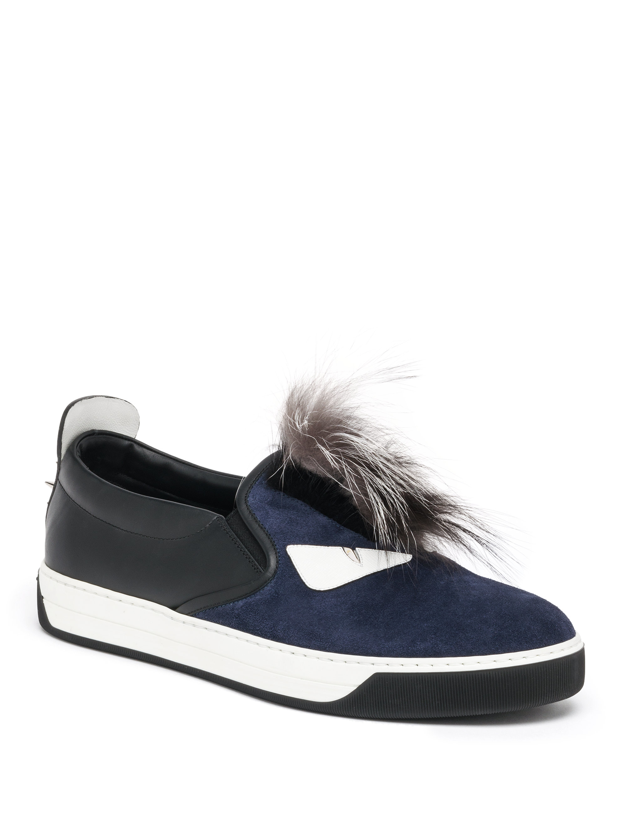 224c7118c846 Lyst - Fendi Monster Mohawk Fur Trimmed Leather Sneakers in Blue for Men